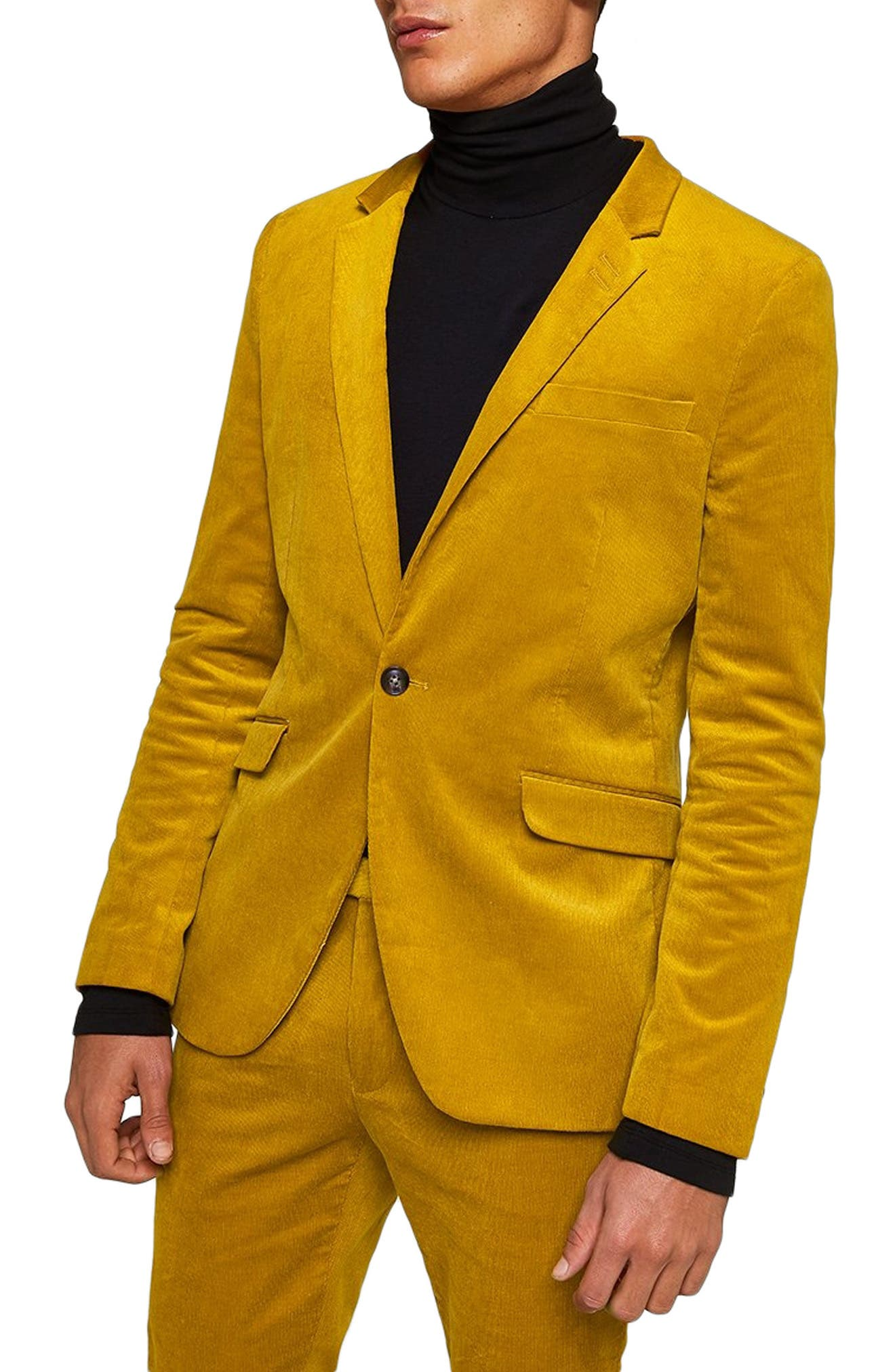 Corduroy Super Skinny Blazer,                             Main thumbnail 1, color,                             YELLOW