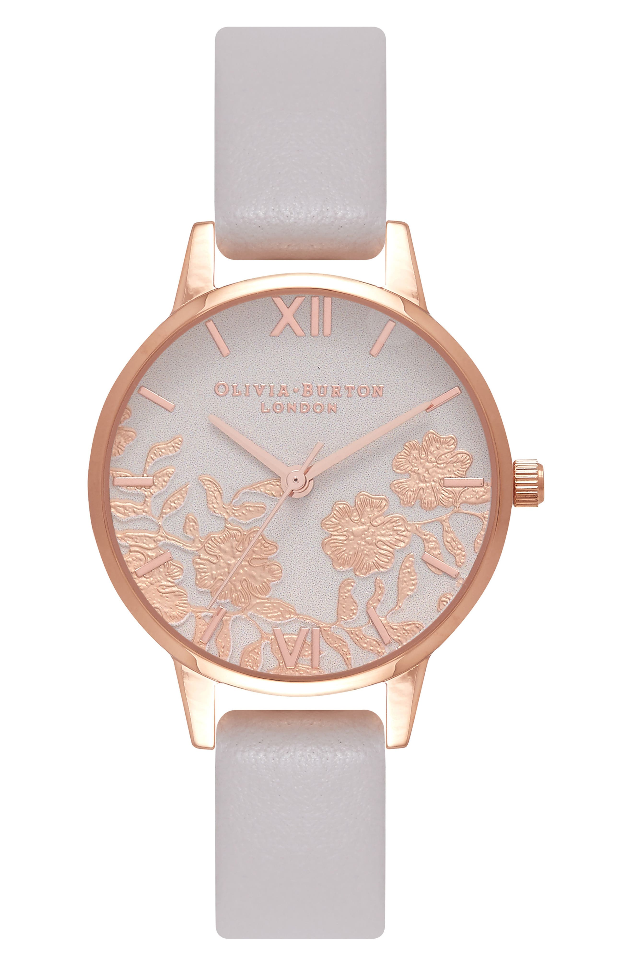 Lace Detail Leather Strap Watch, 30mm,                             Main thumbnail 2, color,