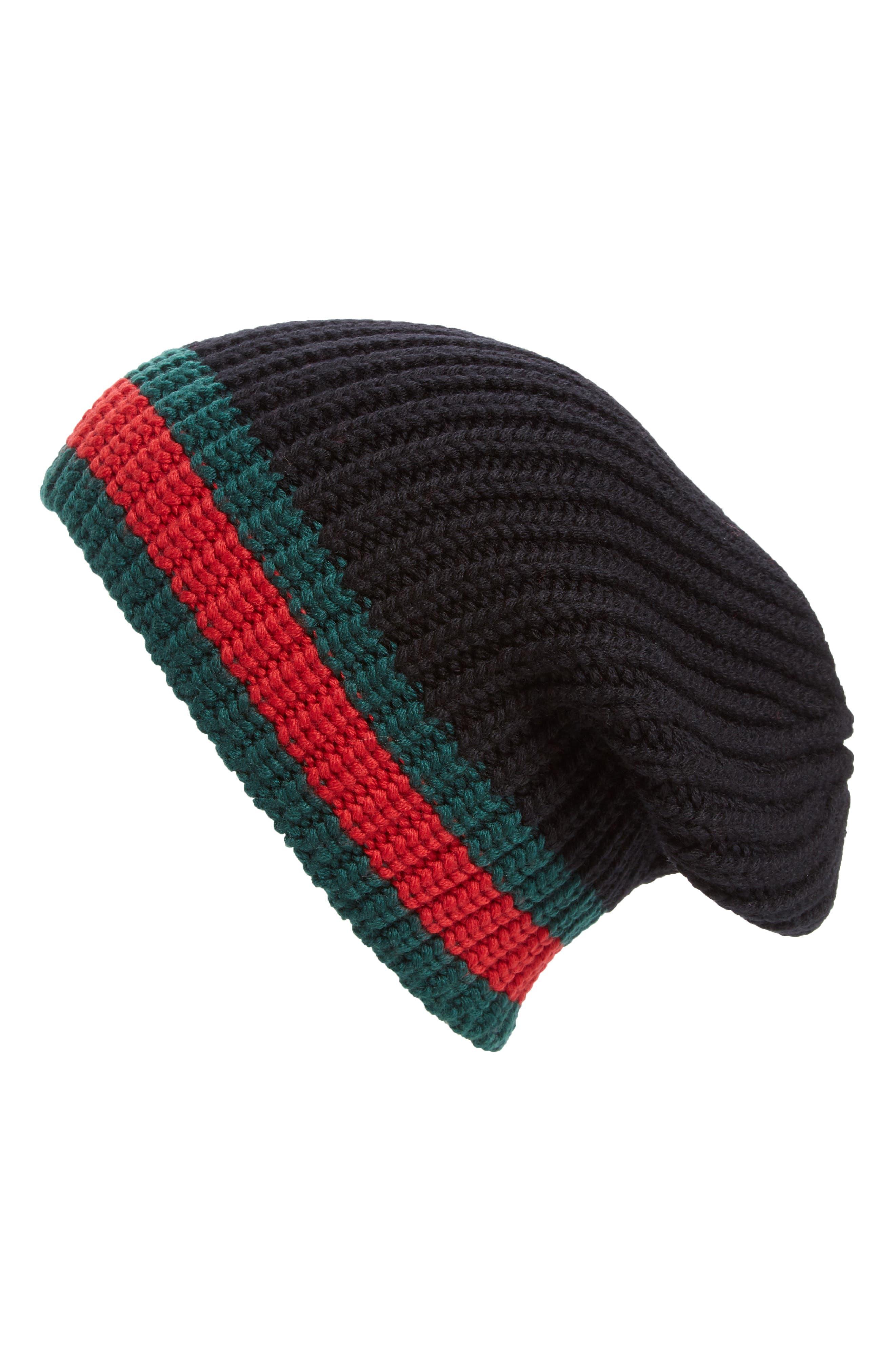 Stripe Wool Beanie,                             Alternate thumbnail 2, color,                             BLACK