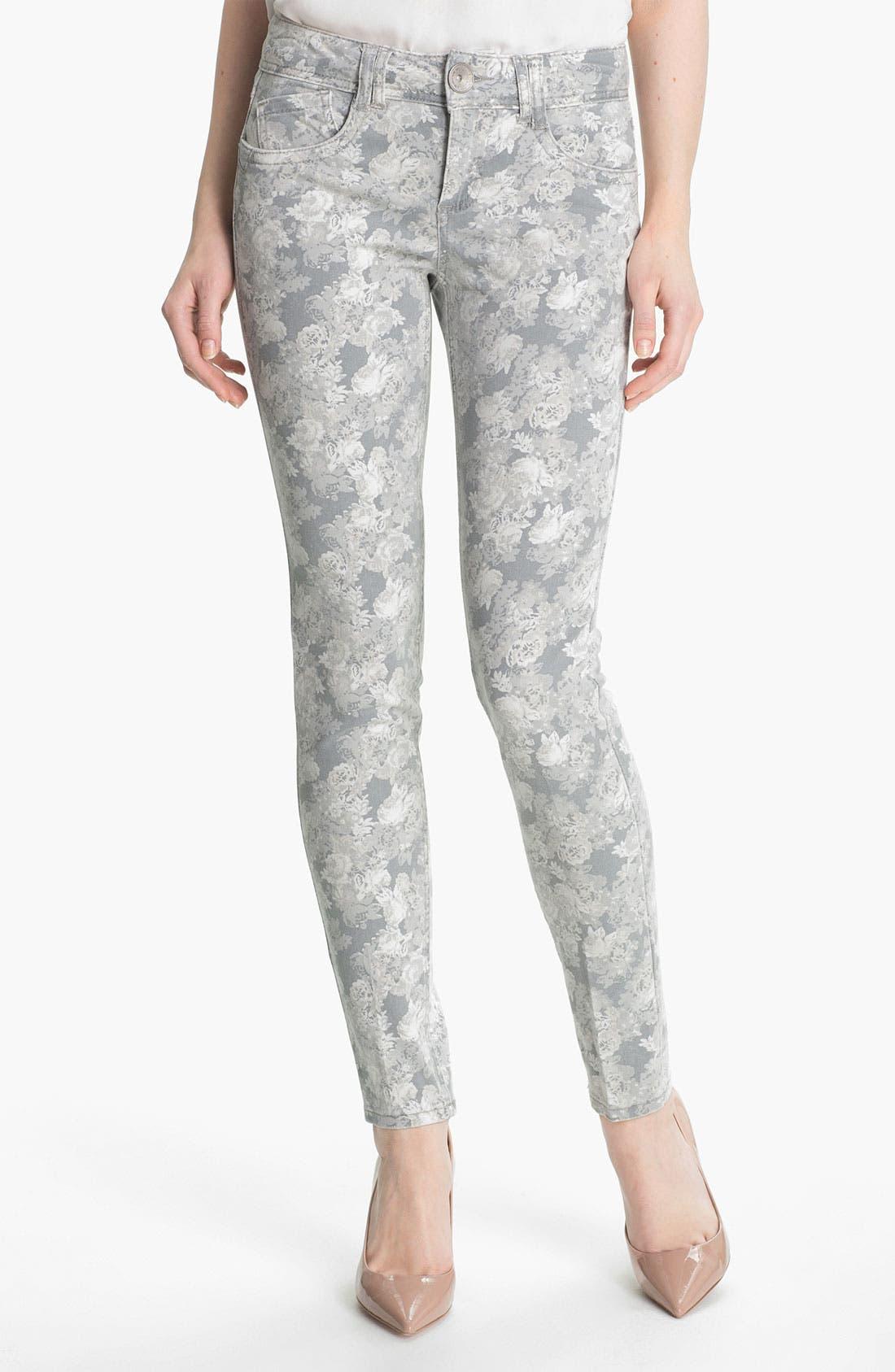 Floral Print Skinny Jeans,                         Main,                         color,
