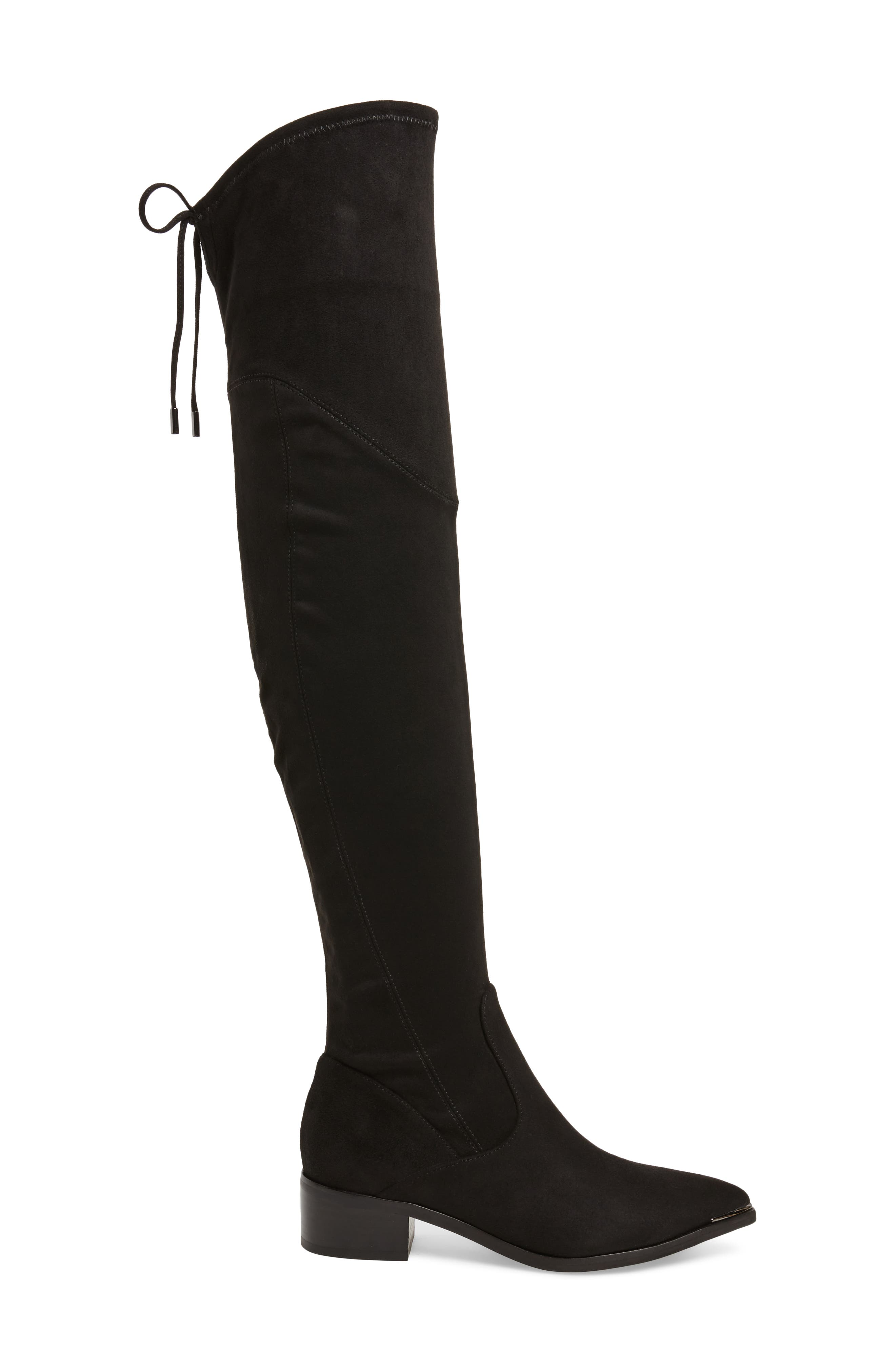 Yuna Over the Knee Boot,                             Alternate thumbnail 3, color,                             BLACK FAUX SUEDE