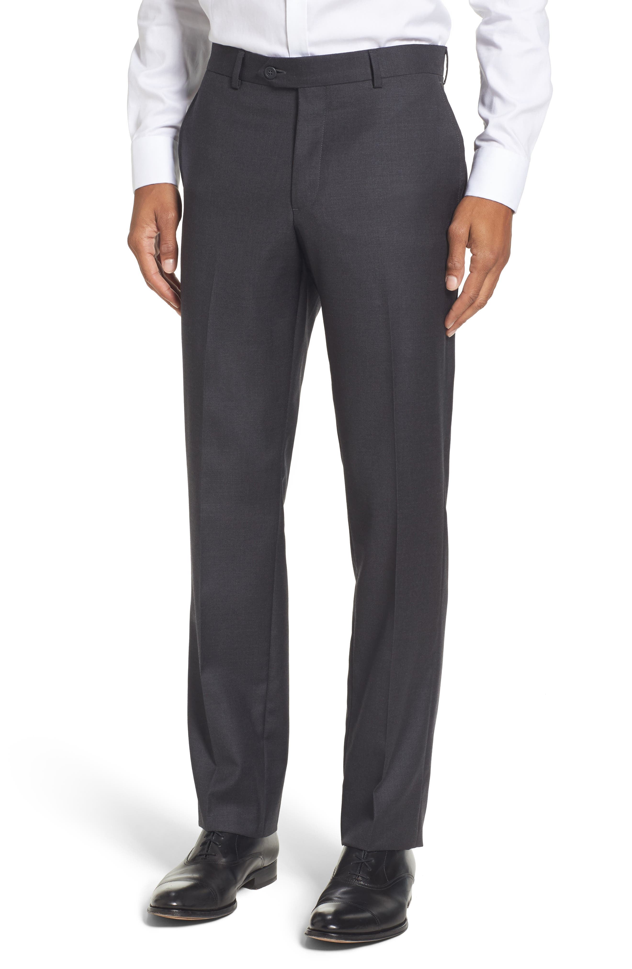 Flat Front Solid Wool Trousers,                             Main thumbnail 3, color,