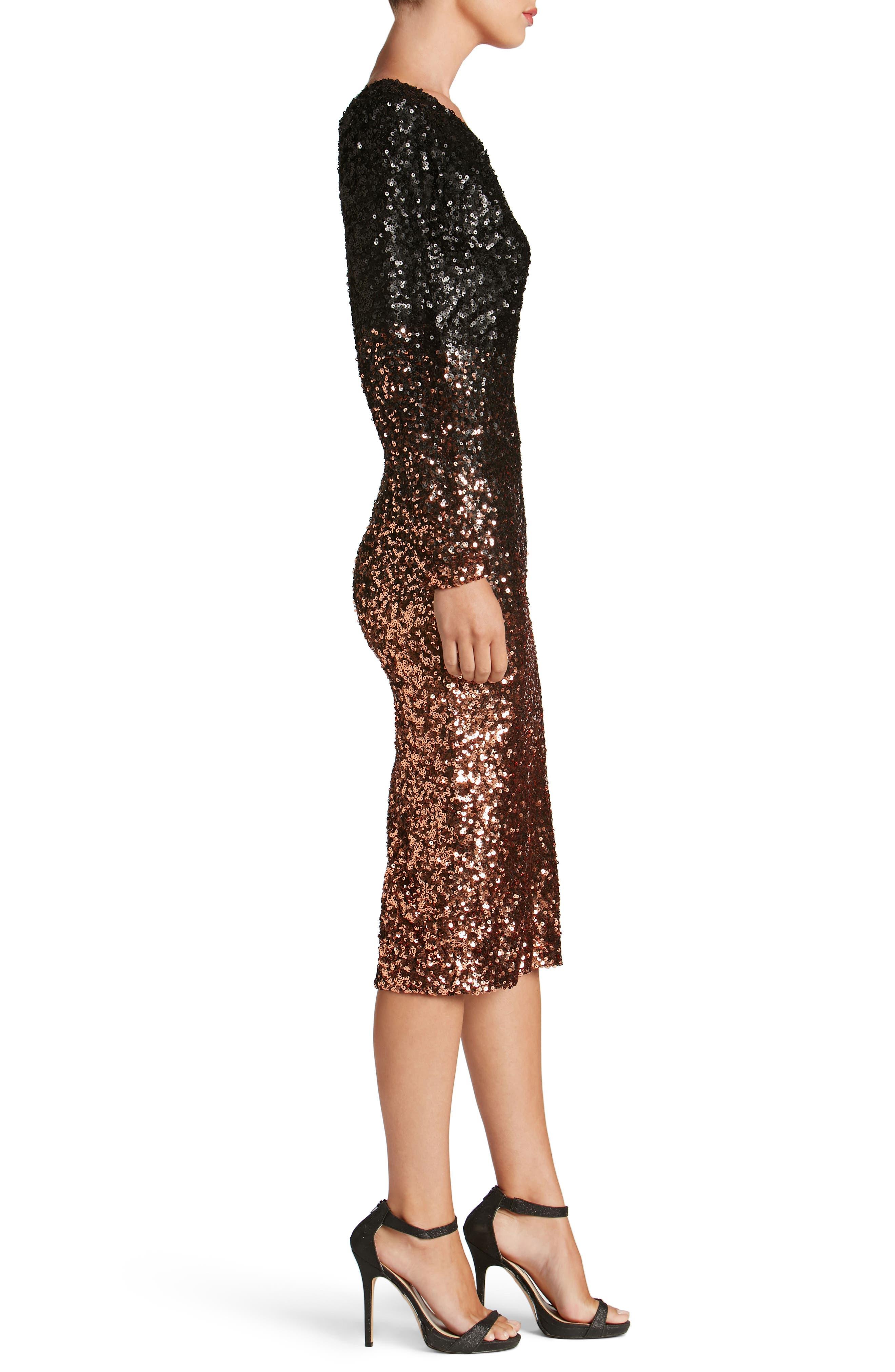 Chrissie One-Shoulder Ombré Sequin Sheath Dress,                             Alternate thumbnail 3, color,                             016