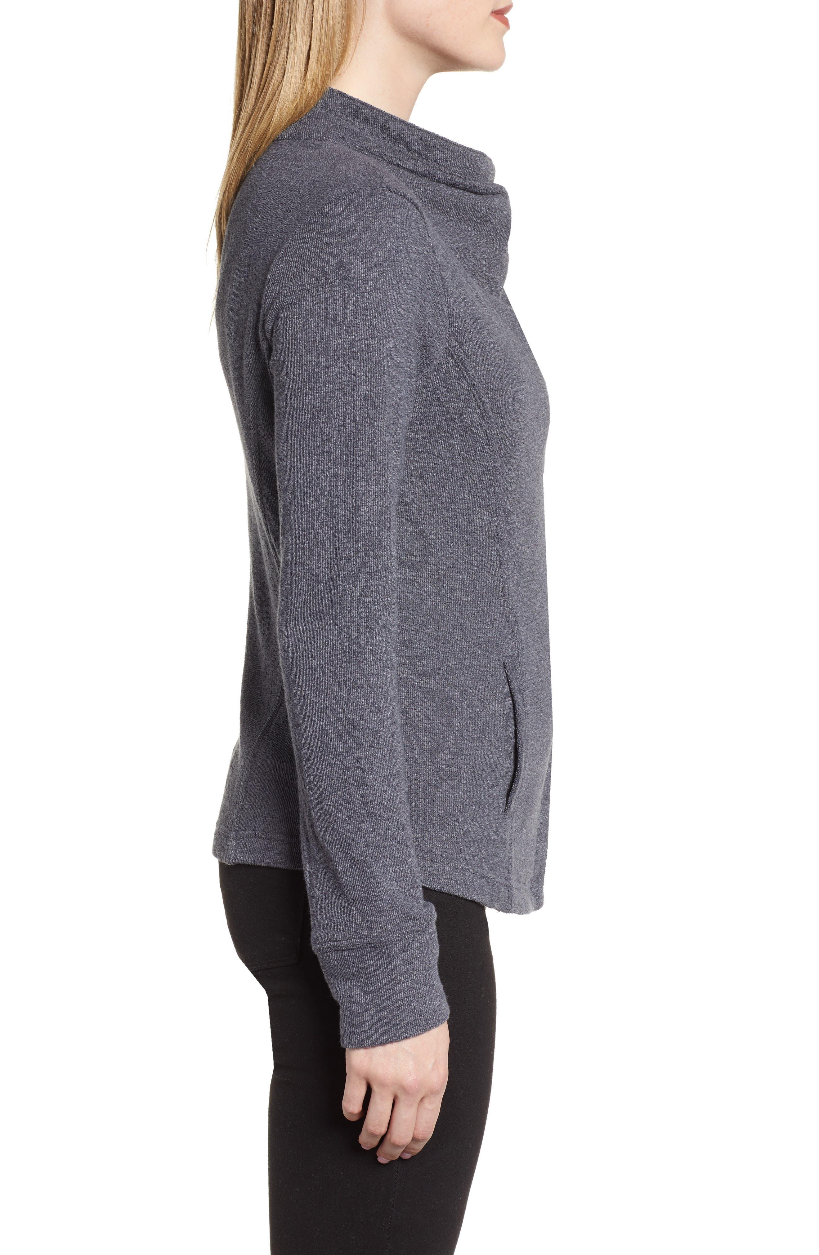 CASLON<SUP>®</SUP>,                             Knit Moto Jacket,                             Alternate thumbnail 3, color,                             GREY EBONY