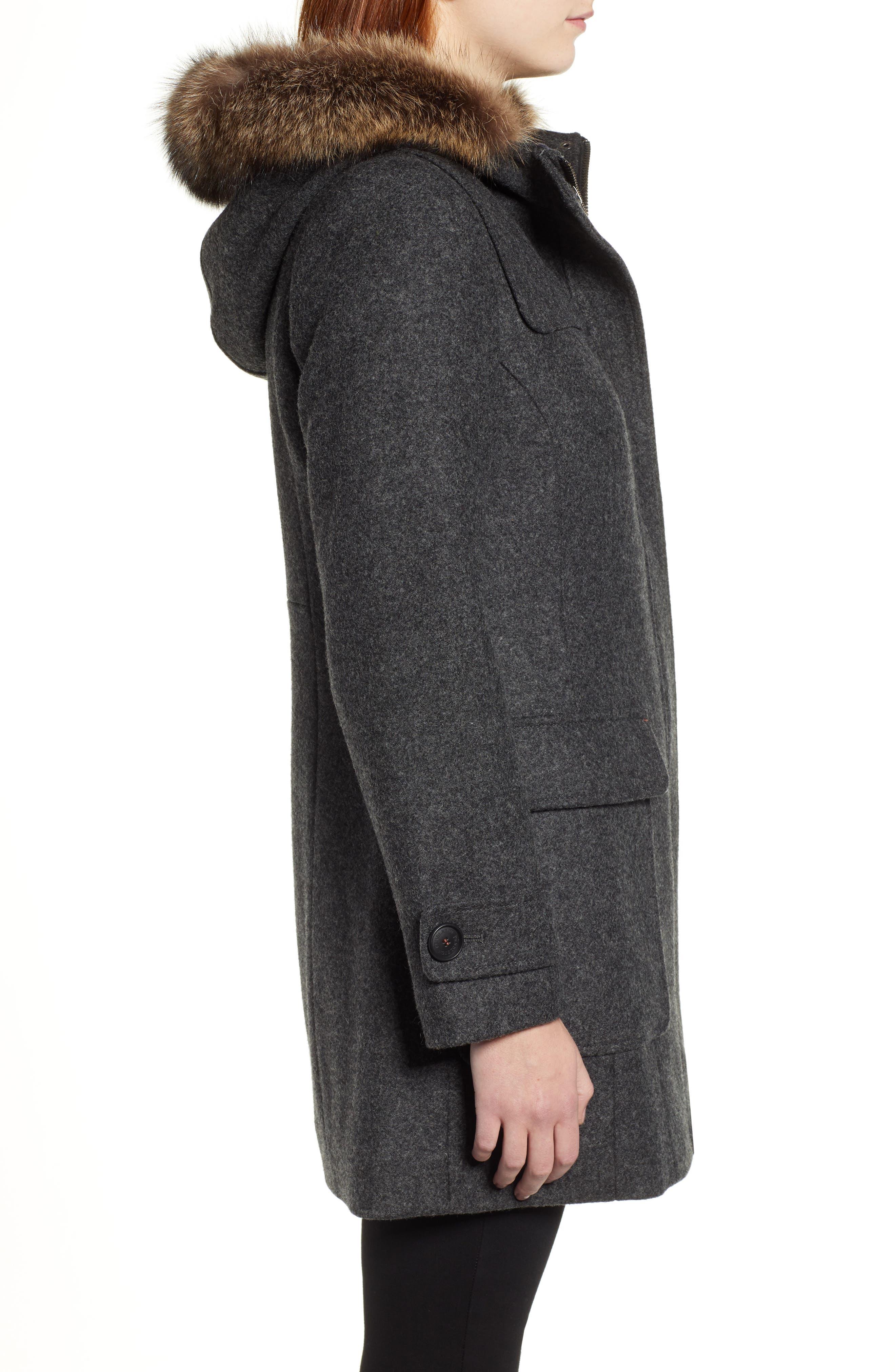 Portland Wool Duffle Coat with Genuine Fur Trim,                             Alternate thumbnail 3, color,                             ASH MEL