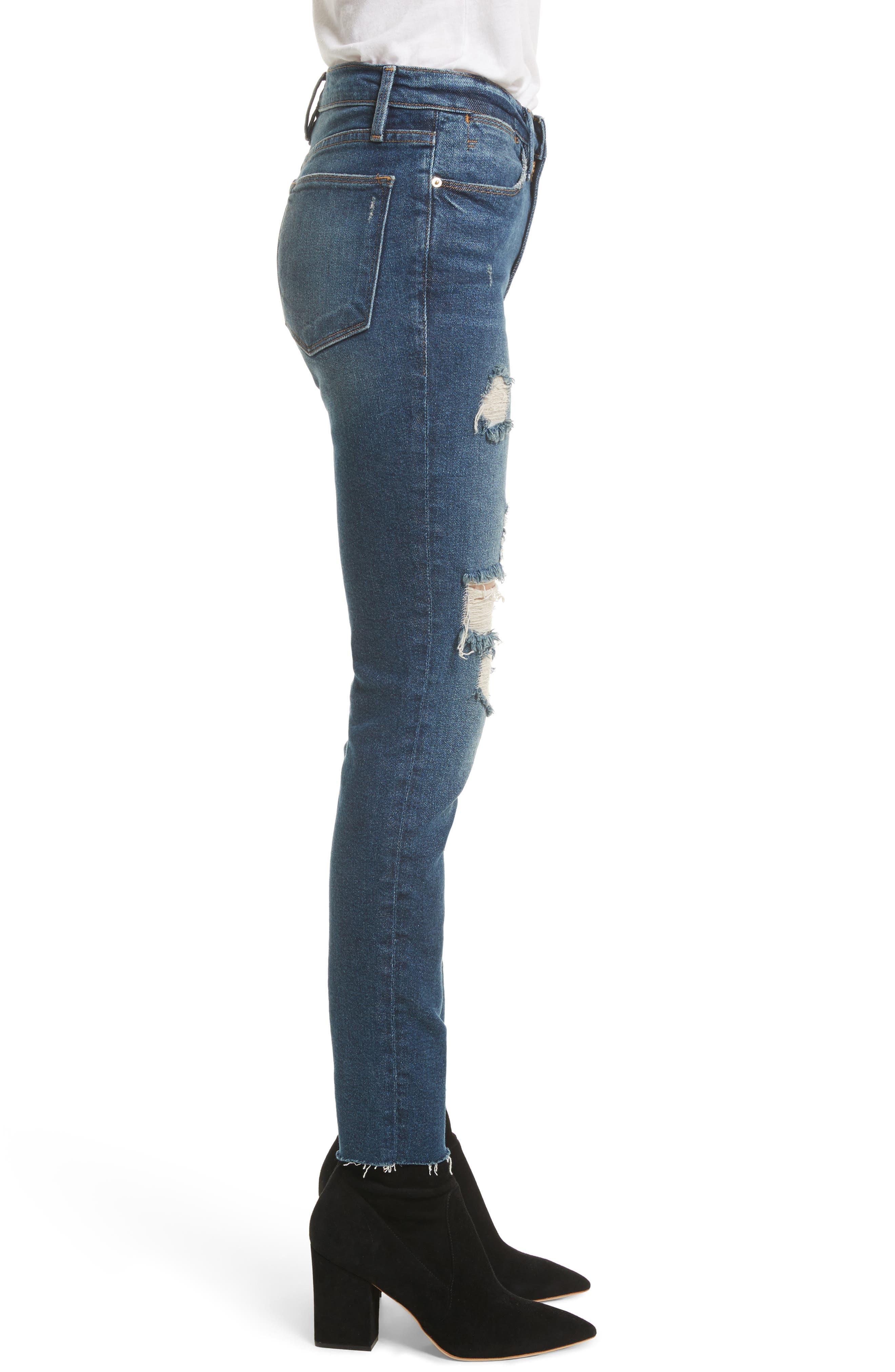 Le High Raw Edge Skinny Jeans,                             Alternate thumbnail 3, color,                             420