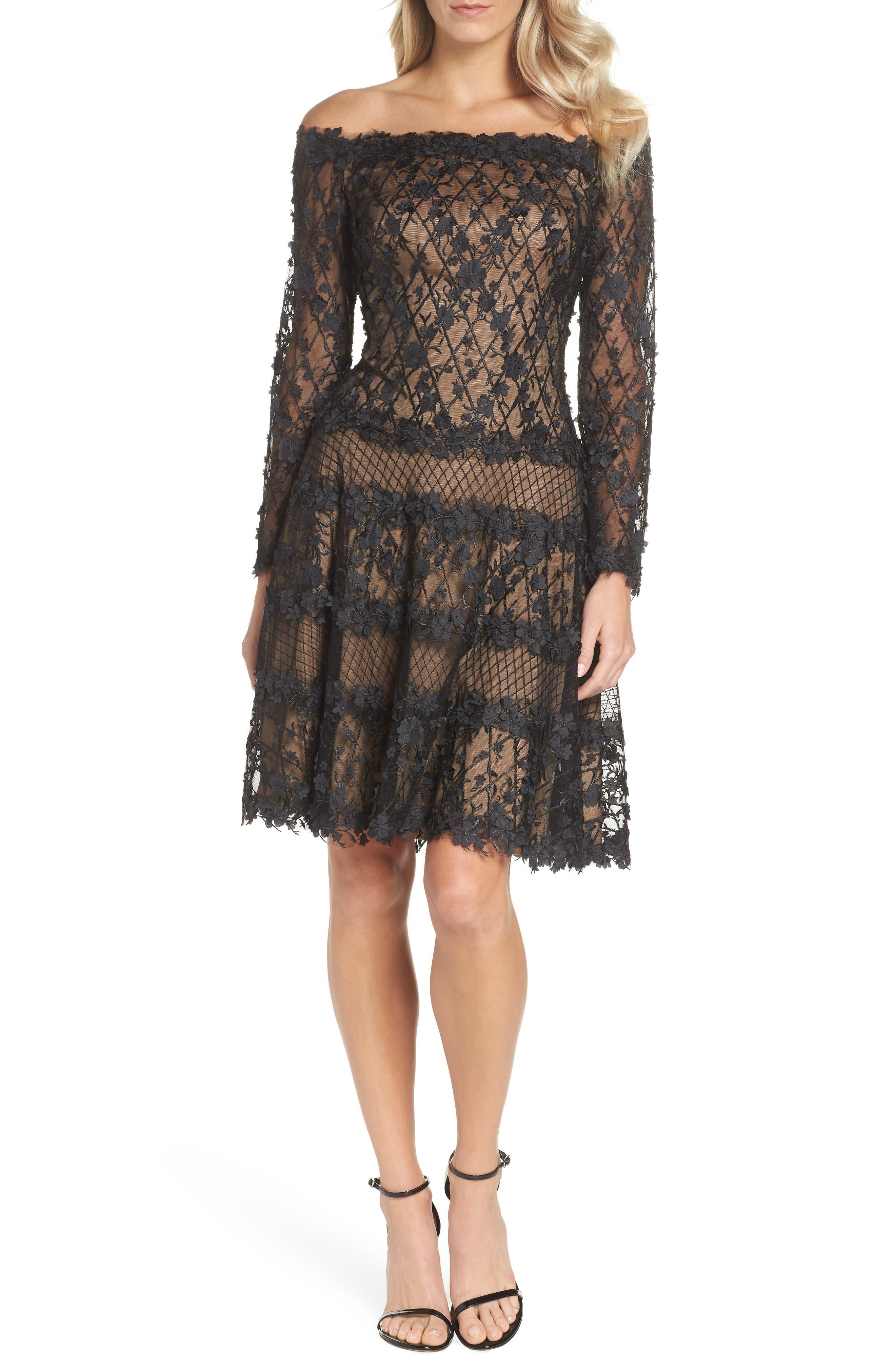 3D Flower Off the Shoulder Dress,                         Main,                         color, BLACK/ NUDE