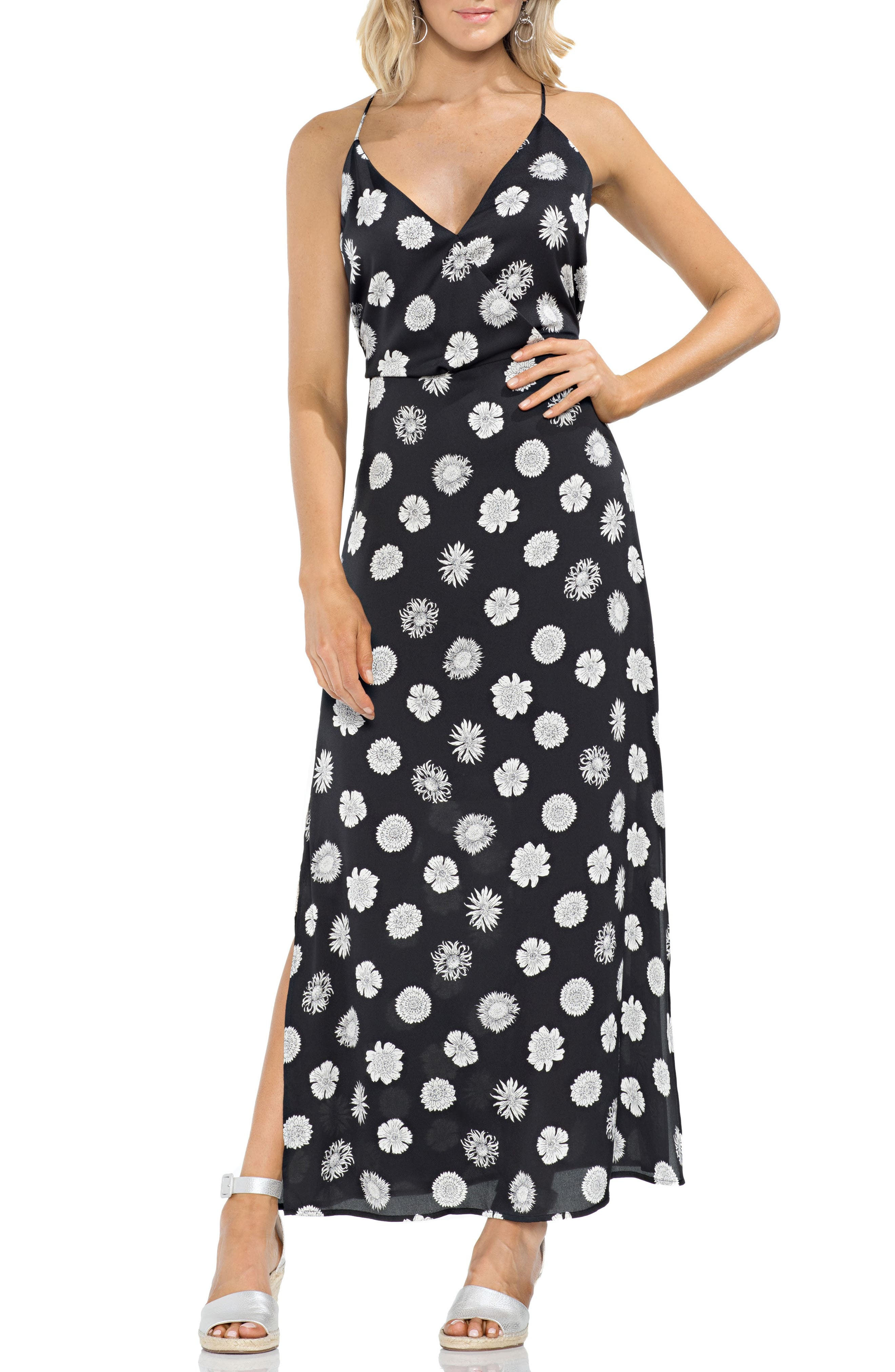 VINCE CAMUTO Botanical Tropic A-Line Maxi Dress, Main, color, 001