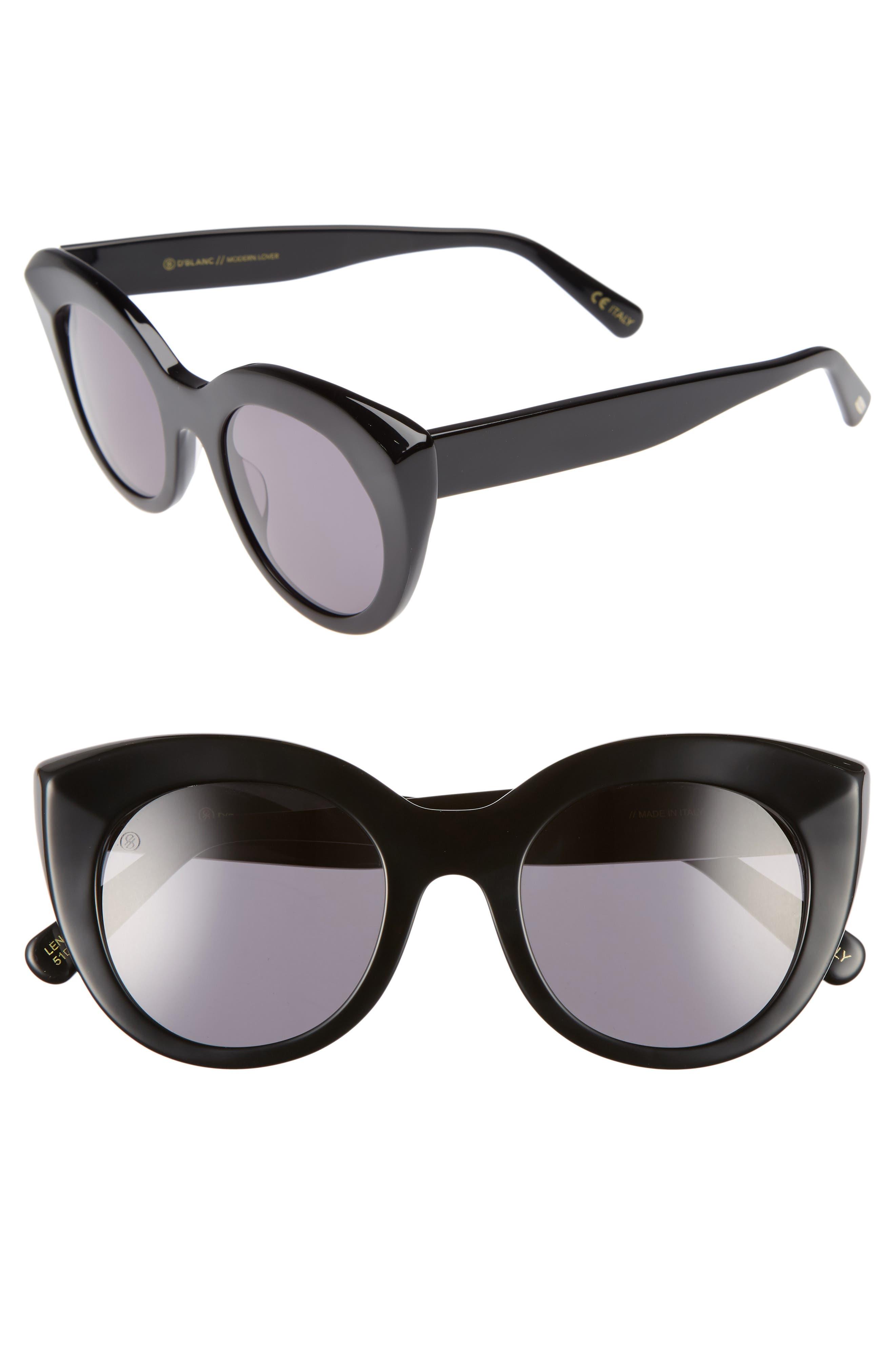 D'BLANC Modern Lover 49mm Cat-Eye Sunglasses,                         Main,                         color, 001