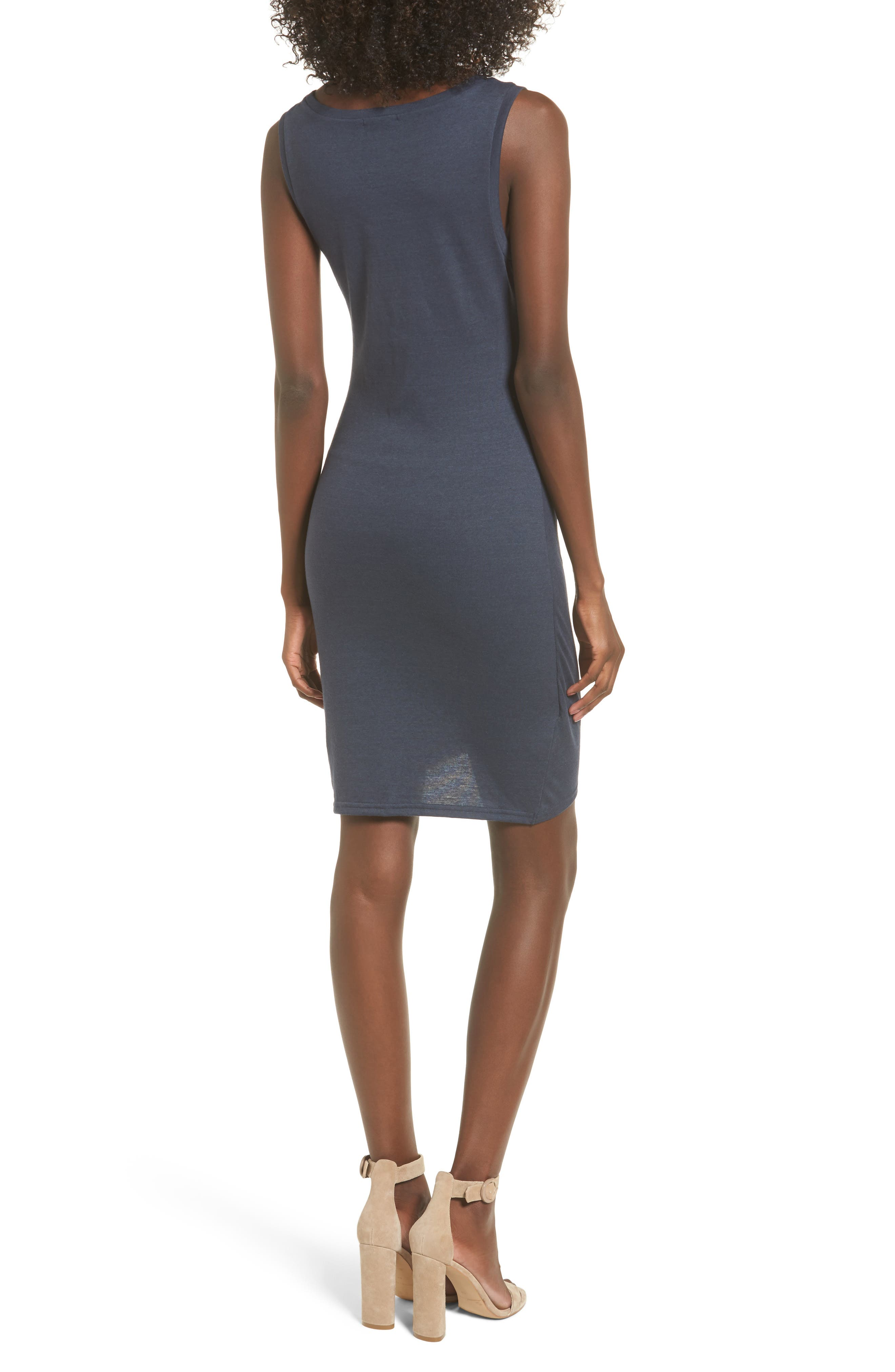 Ruched Body-Con Tank Dress,                             Alternate thumbnail 2, color,                             NAVY INDIA INK