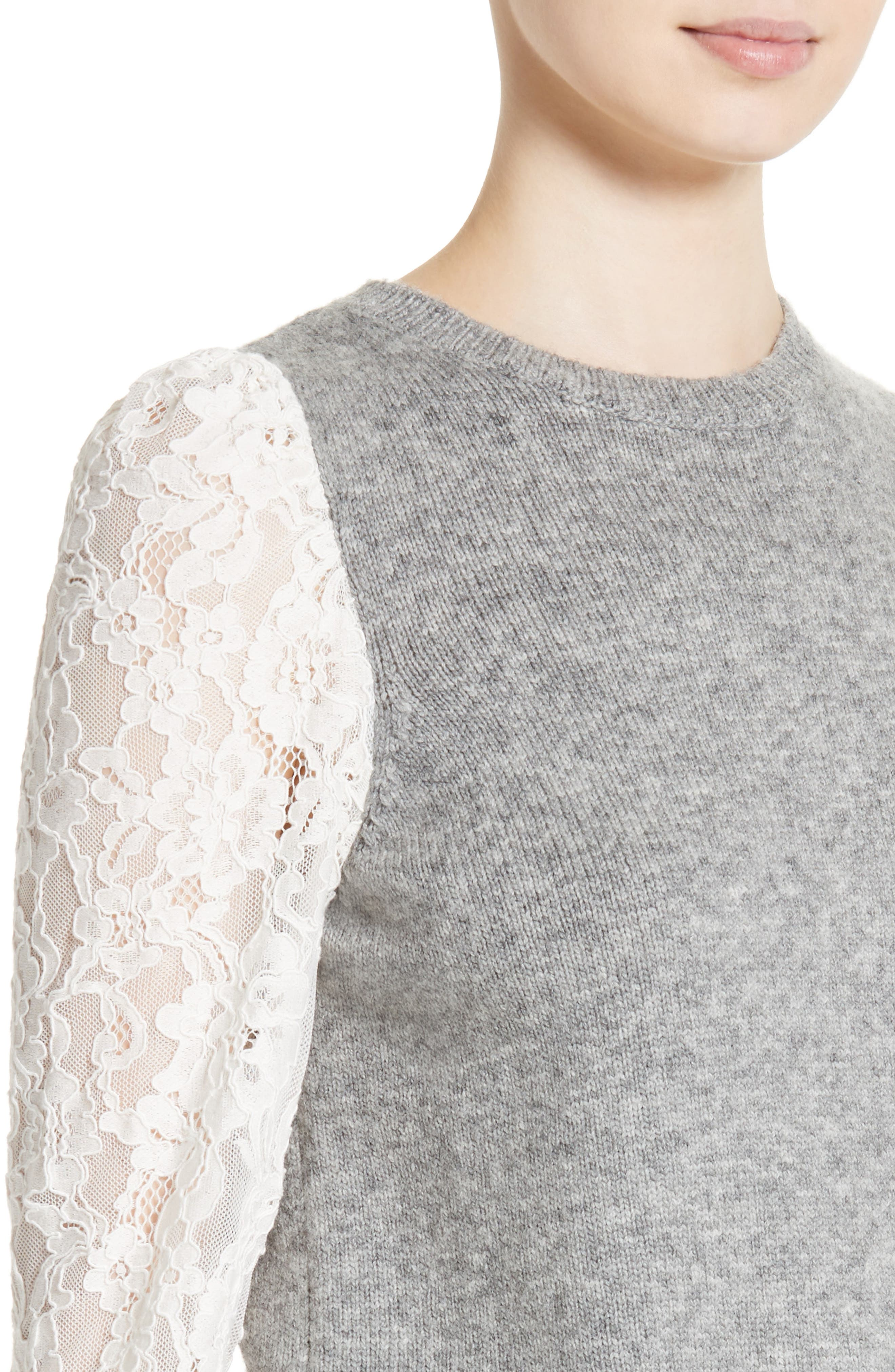 REBECCA TAYLOR,                             Lace Sleeve Sweater,                             Alternate thumbnail 4, color,                             063