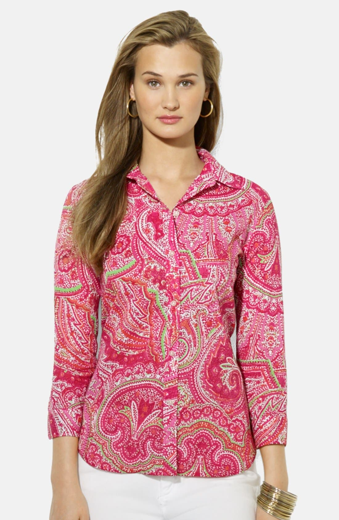 Paisley Print Cotton Shirt,                         Main,                         color, 690