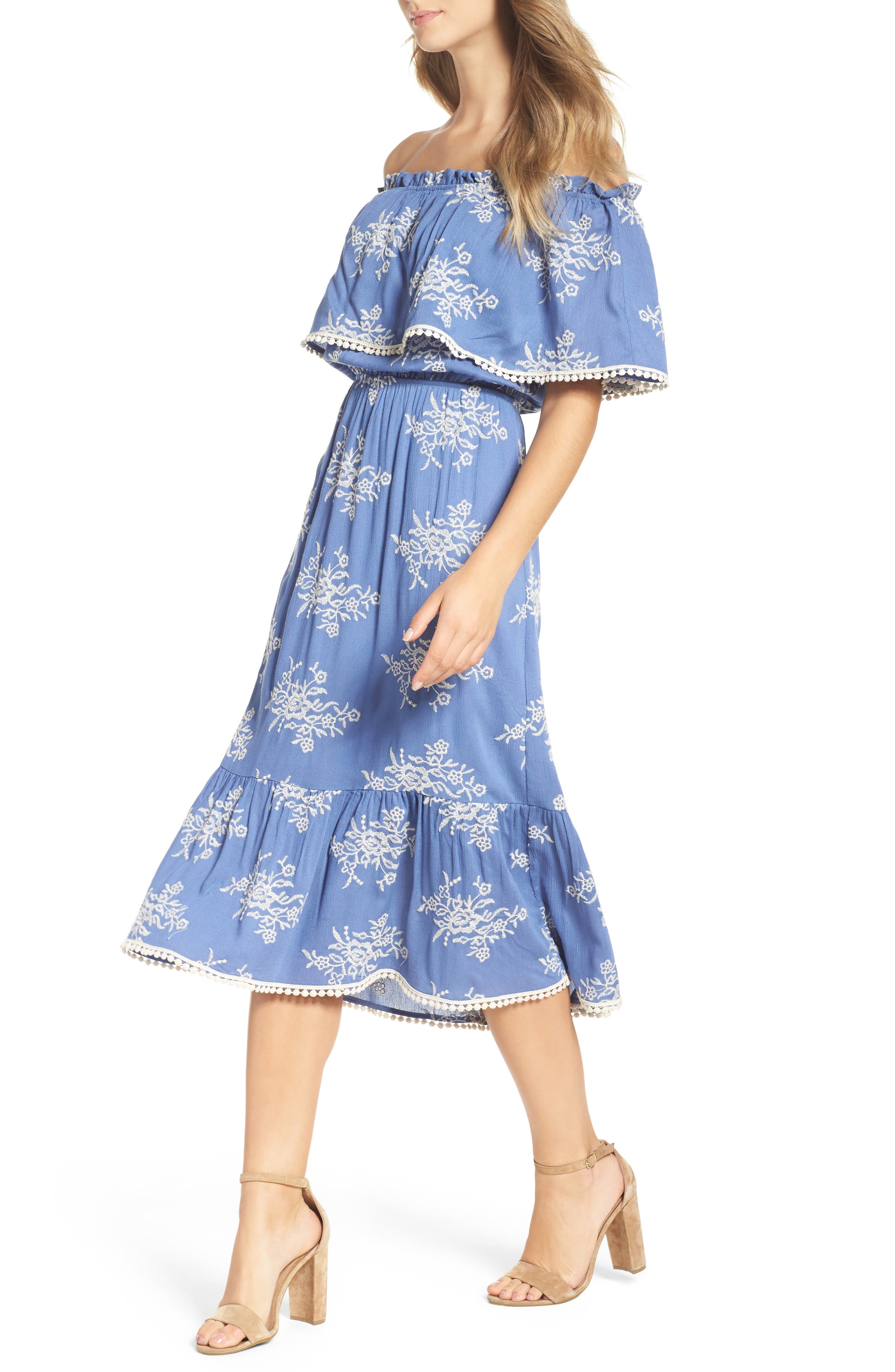 Off the Shoulder Midi Dress,                             Alternate thumbnail 4, color,