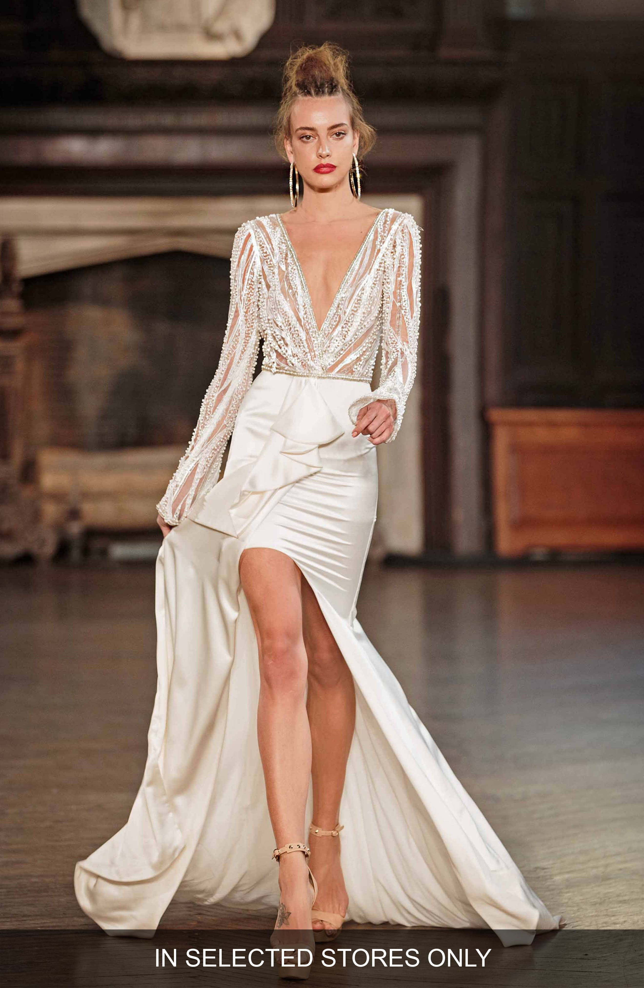 Beaded Long Sleeve High/Low Gown,                             Main thumbnail 1, color,                             101