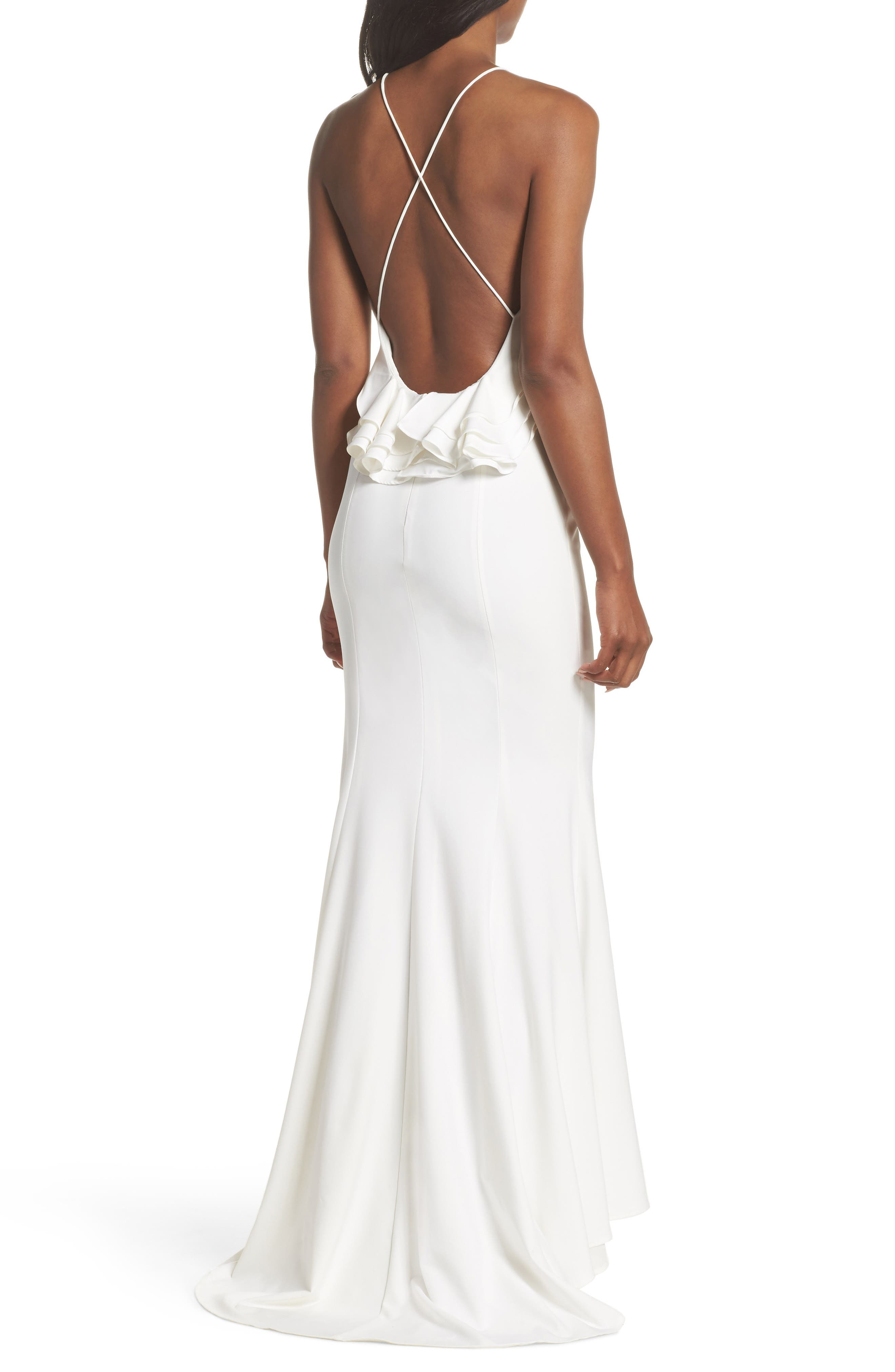 Zoe Ruffle Back Gown,                             Alternate thumbnail 2, color,                             100