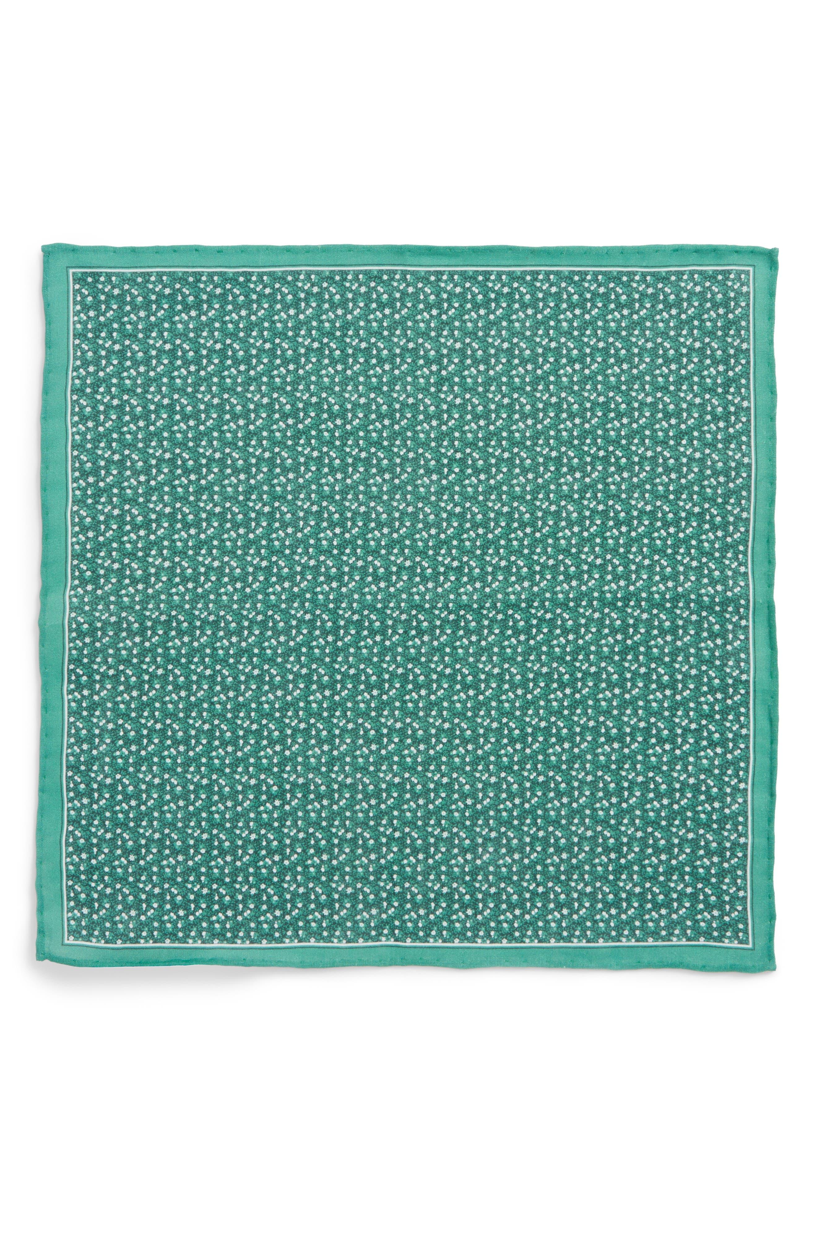 Floral Mark Linen Pocket Square,                             Alternate thumbnail 2, color,                             300