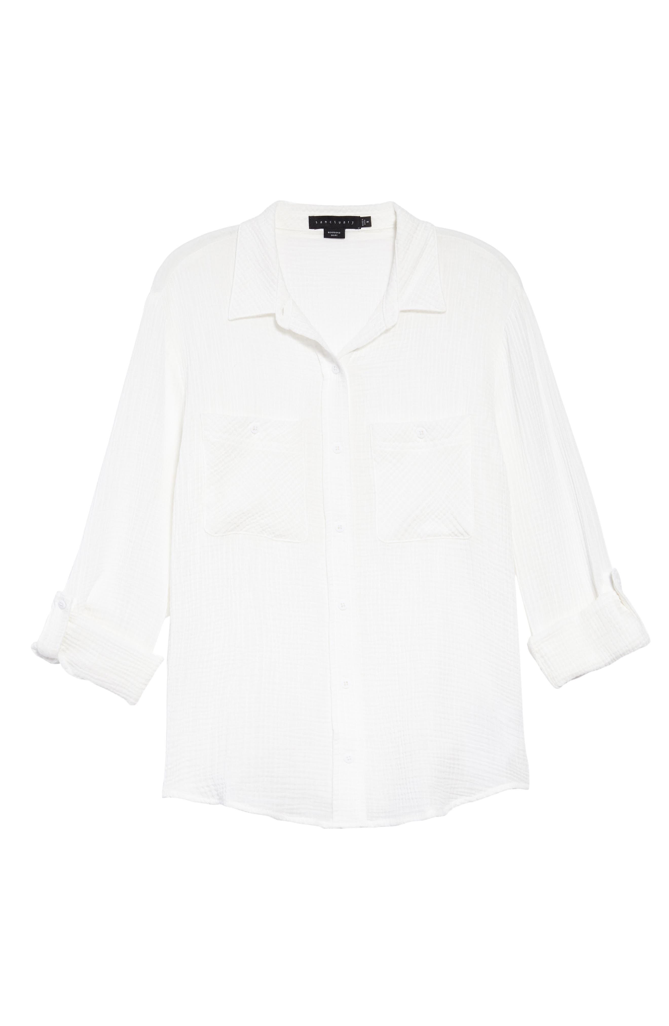 Steady Boyfriend Roll Tab Shirt,                             Alternate thumbnail 3, color,                             WHITE