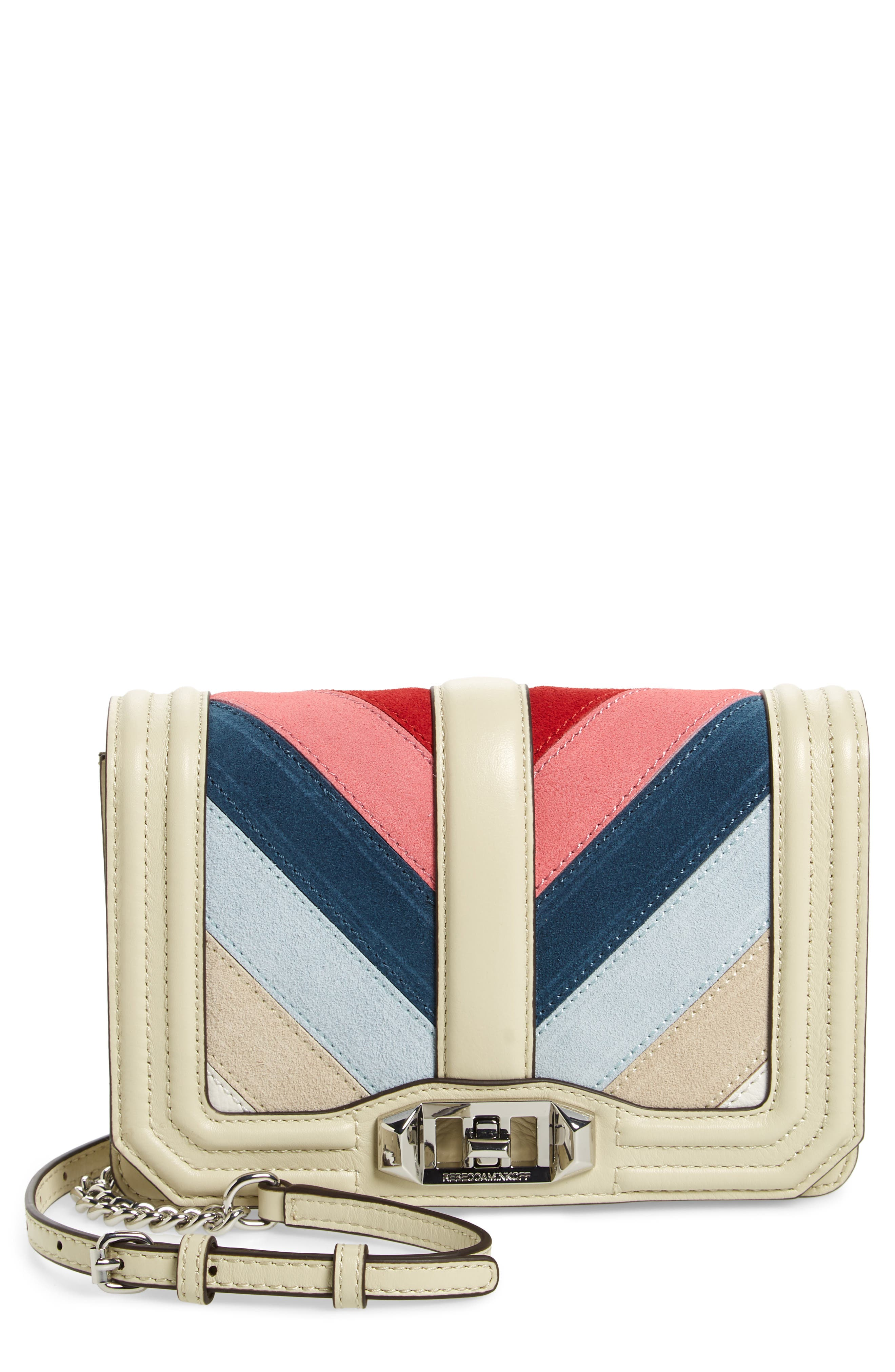 Small Love Chevron Patchwork Crossbody Bag,                             Main thumbnail 1, color,                             PINK MULTI