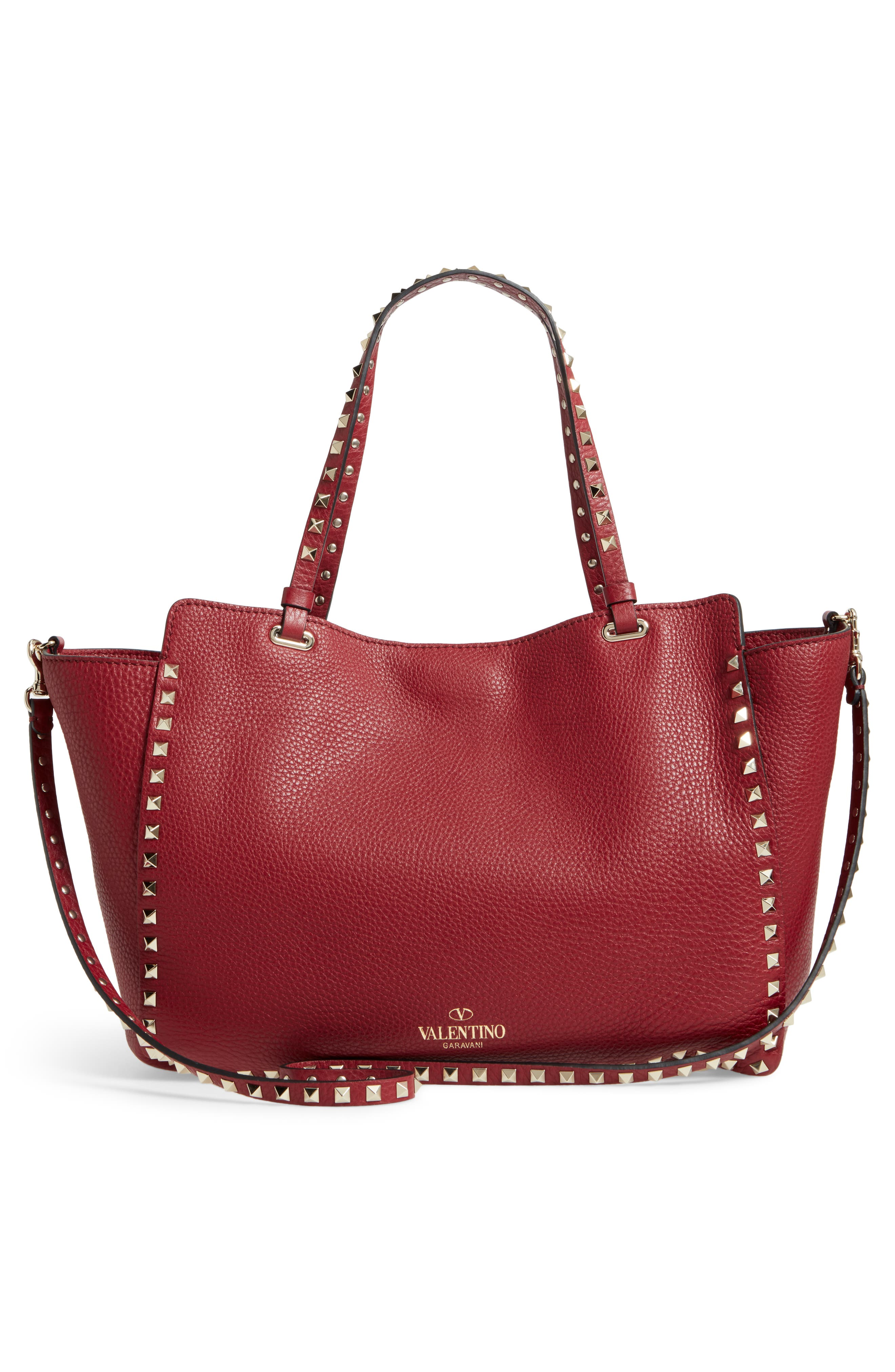Medium Rockstud Grained Calfskin Leather Tote,                             Alternate thumbnail 3, color,                             930
