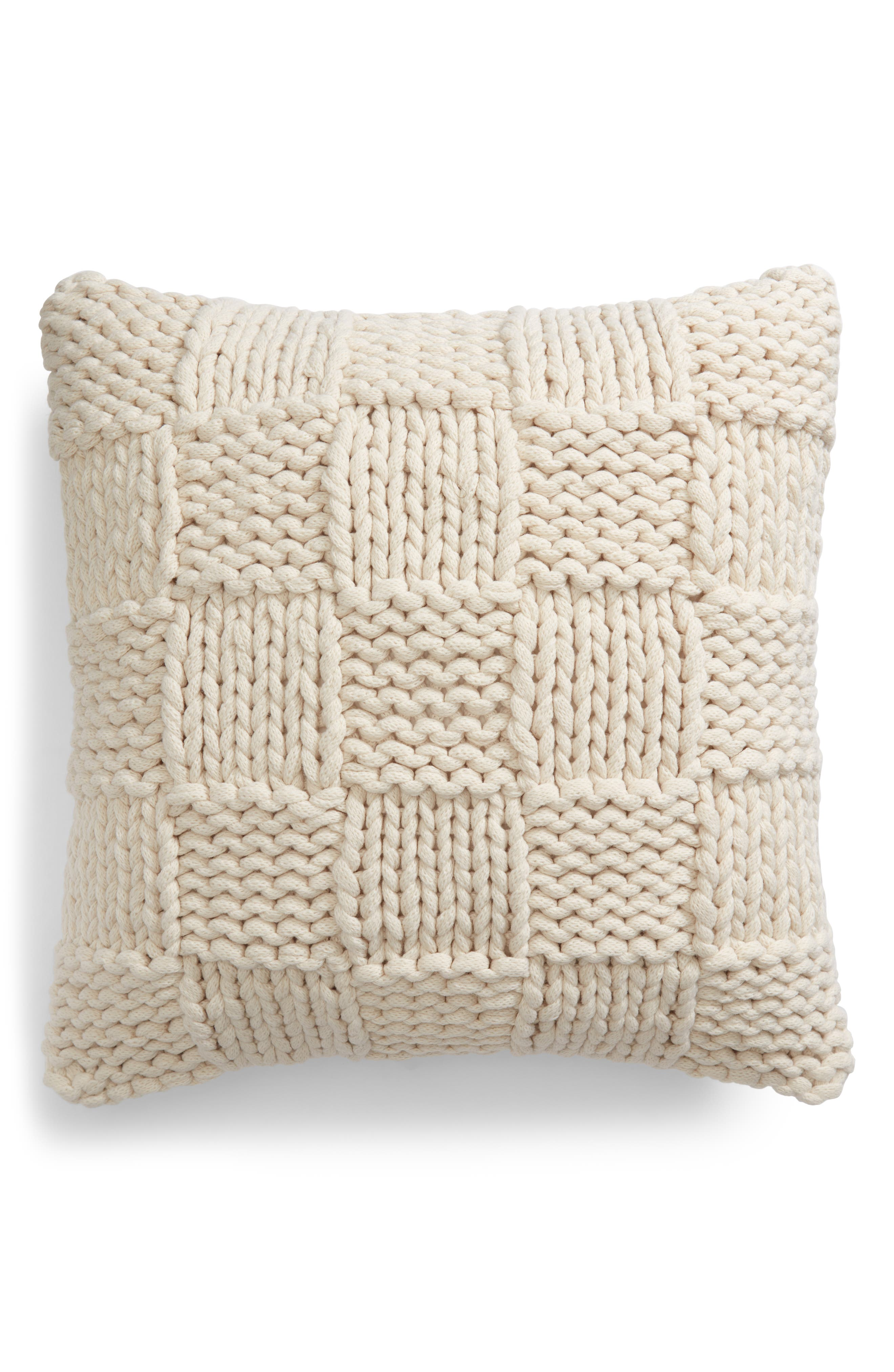 Jersey Rope Basket Accent Pillow,                             Main thumbnail 1, color,                             IVORY