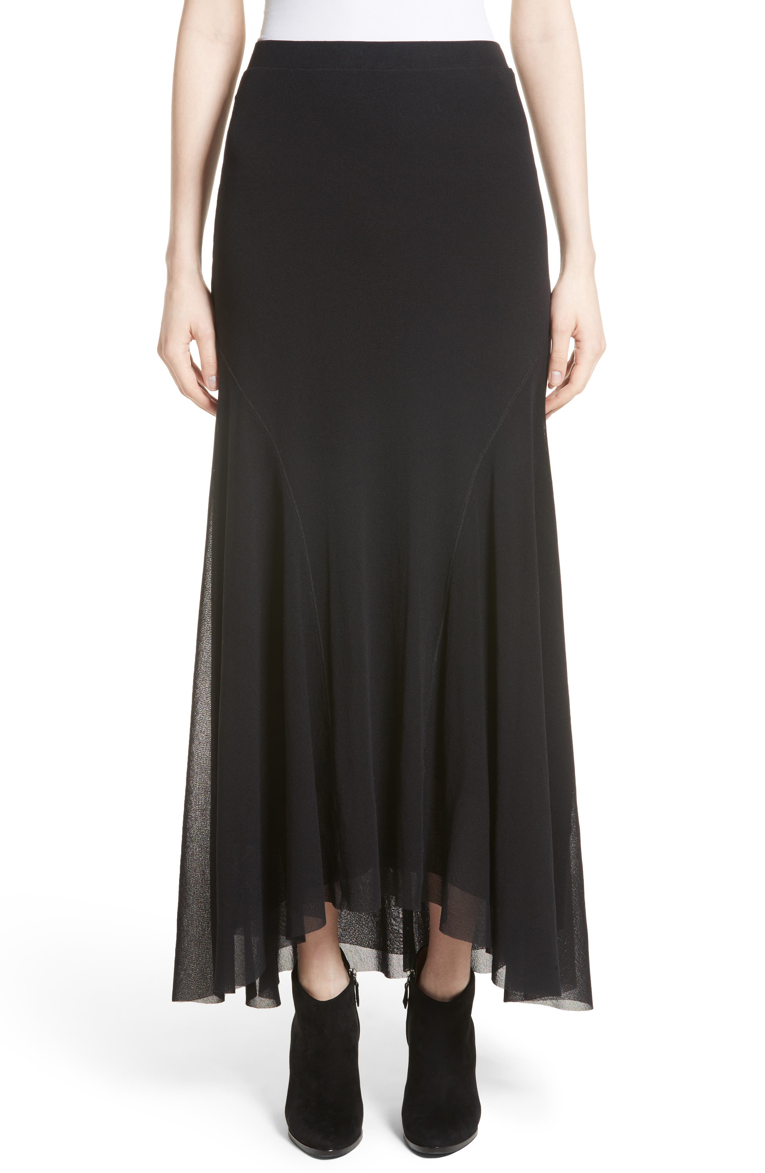 Tulle High/Low Maxi Skirt,                             Main thumbnail 1, color,                             001