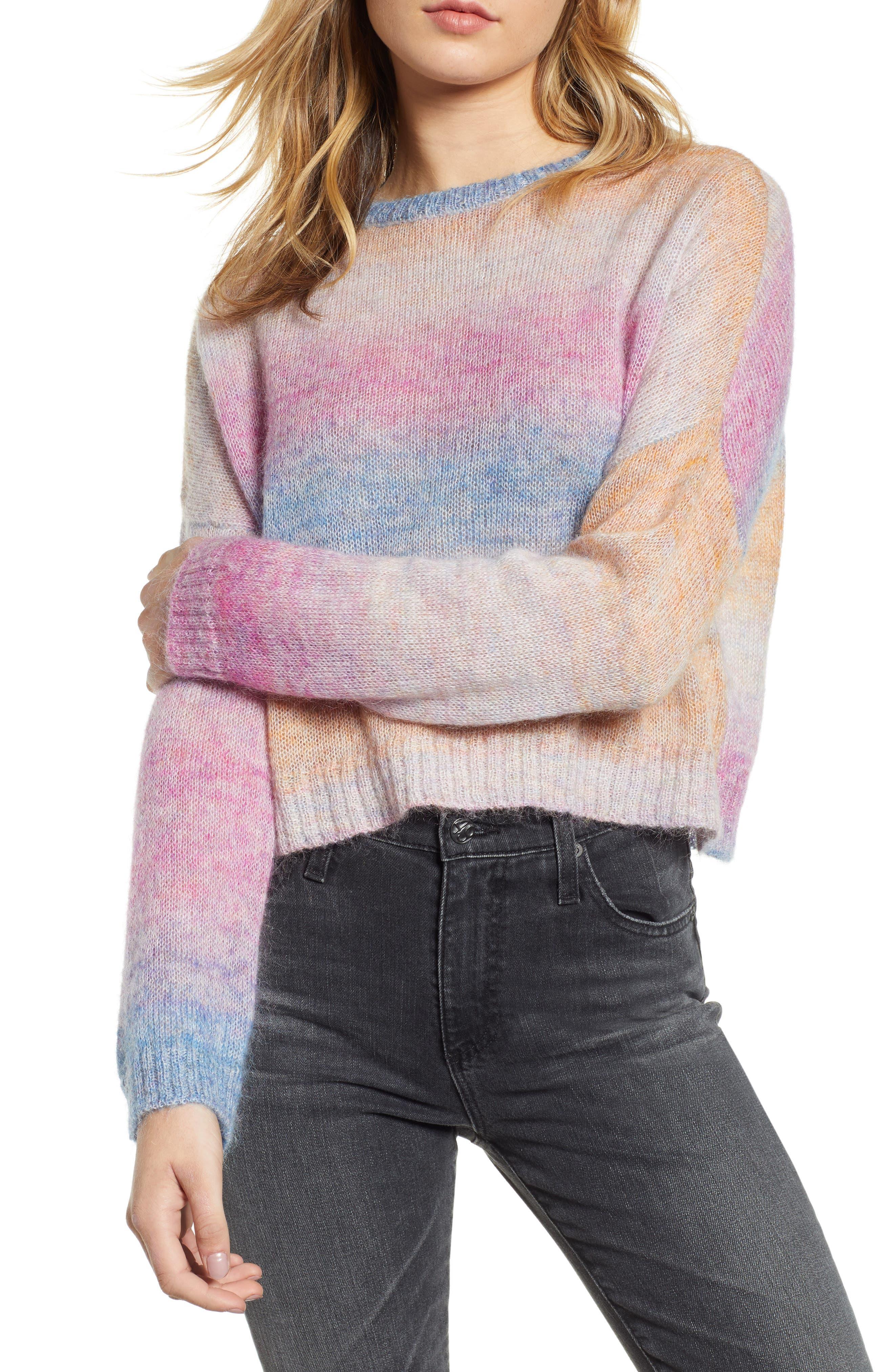 Camille Stripe Sweater,                         Main,                         color, RAINBOW