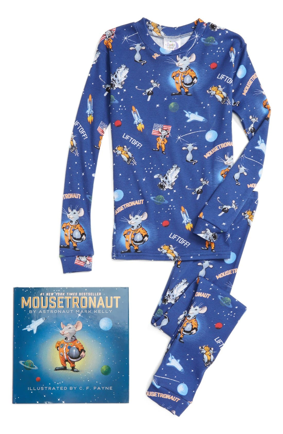 Mousetronaut Fitted Two-Piece Pajamas & Book Set,                             Main thumbnail 1, color,                             410