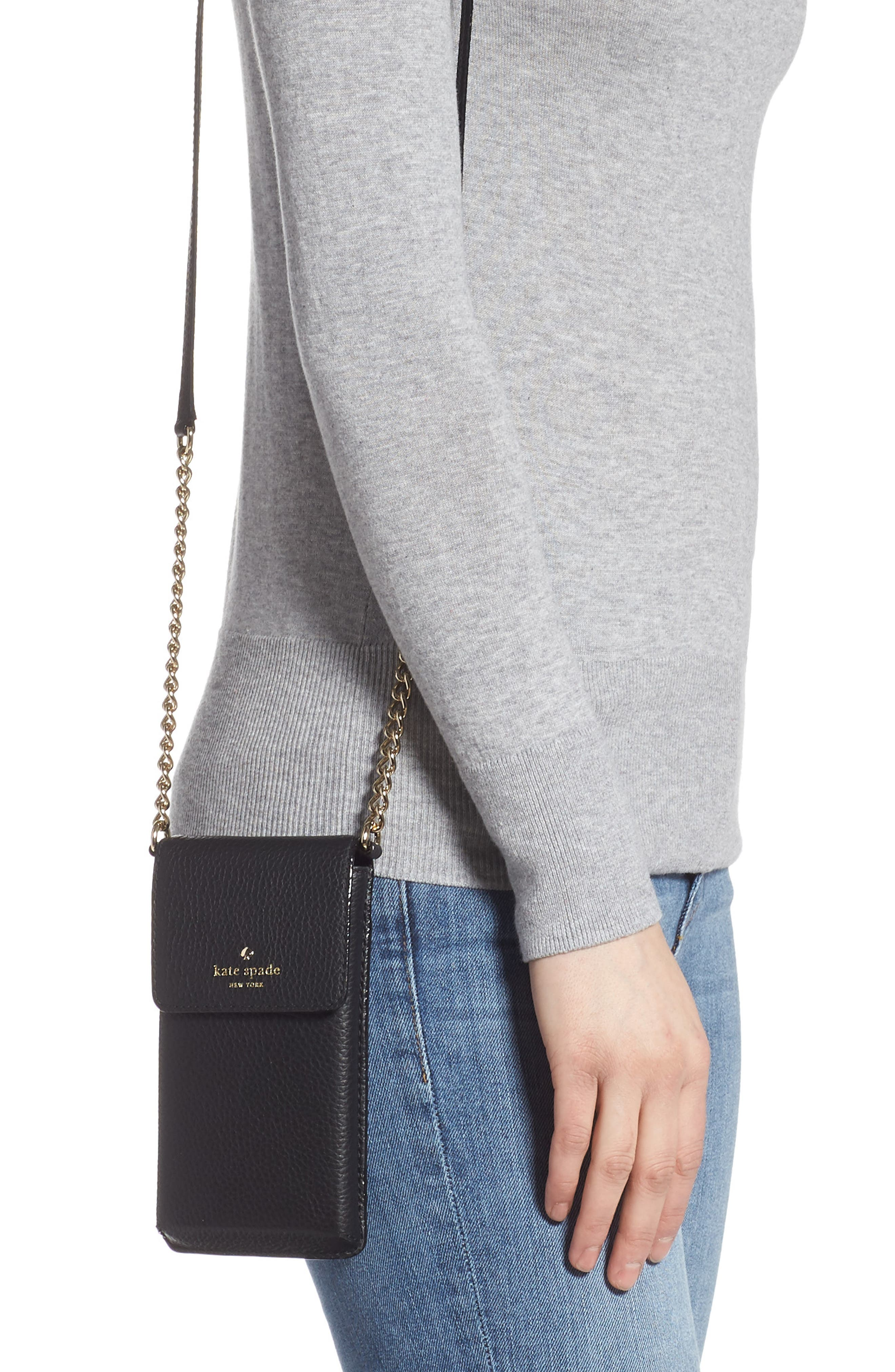KATE SPADE NEW YORK,                             north/south leather smartphone crossbody bag,                             Alternate thumbnail 2, color,                             001