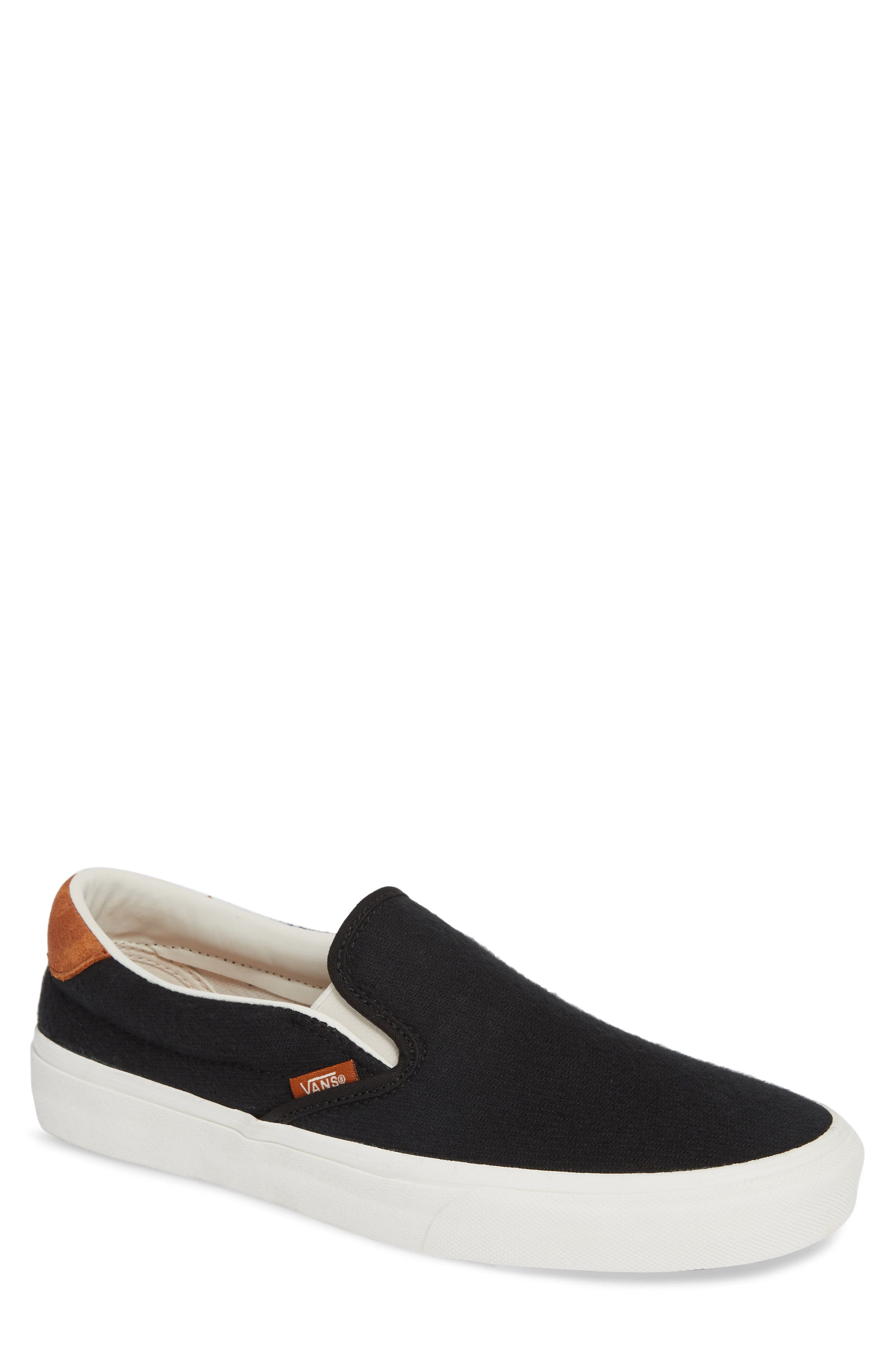 59 Classic Slip-On Sneaker,                         Main,                         color, BLACK FLANNEL SUEDE