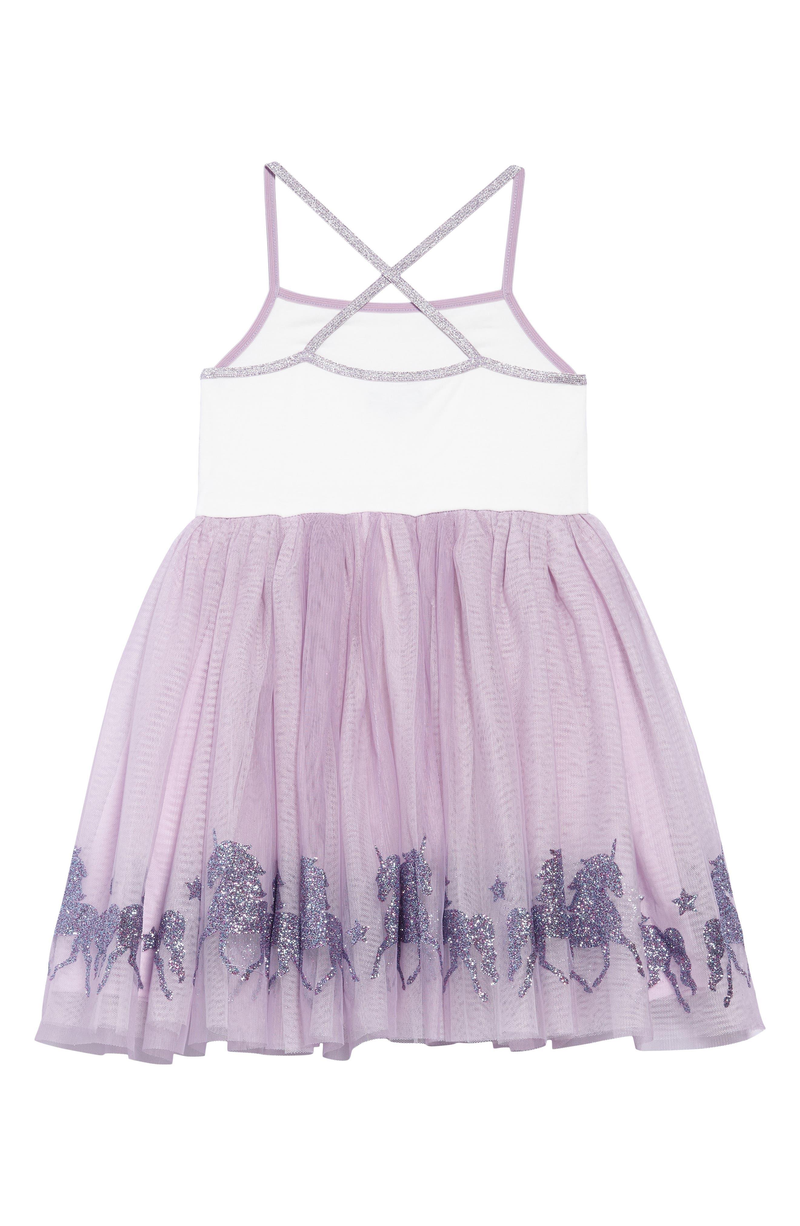 Glittery Unicorn Ballerina Dress,                             Alternate thumbnail 2, color,                             LAVENDER