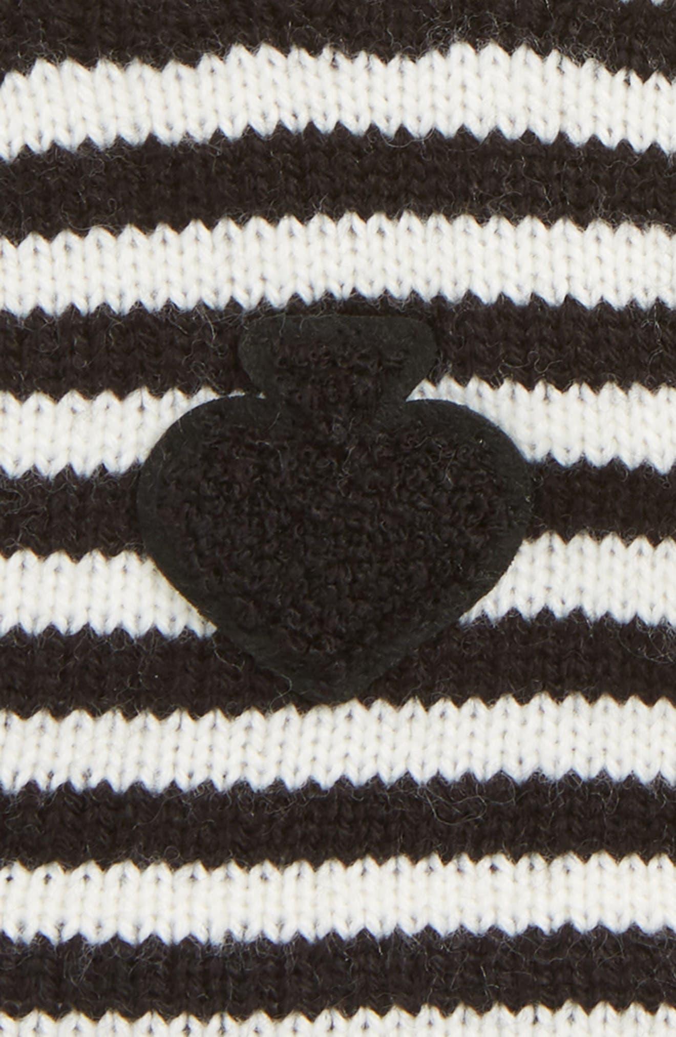 stripe tech gloves,                             Alternate thumbnail 3, color,                             BLACK/ CREAM
