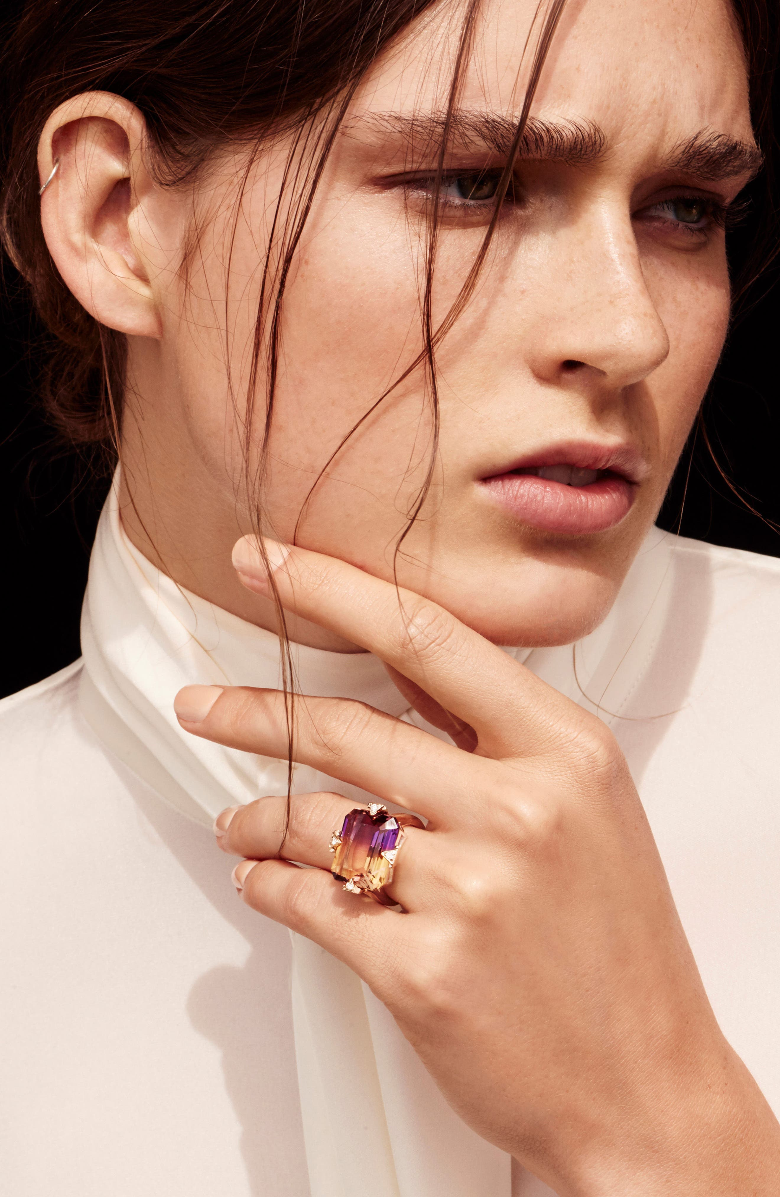 Cocktail Ring with Diamonds,                             Alternate thumbnail 4, color,                             AMETRINE