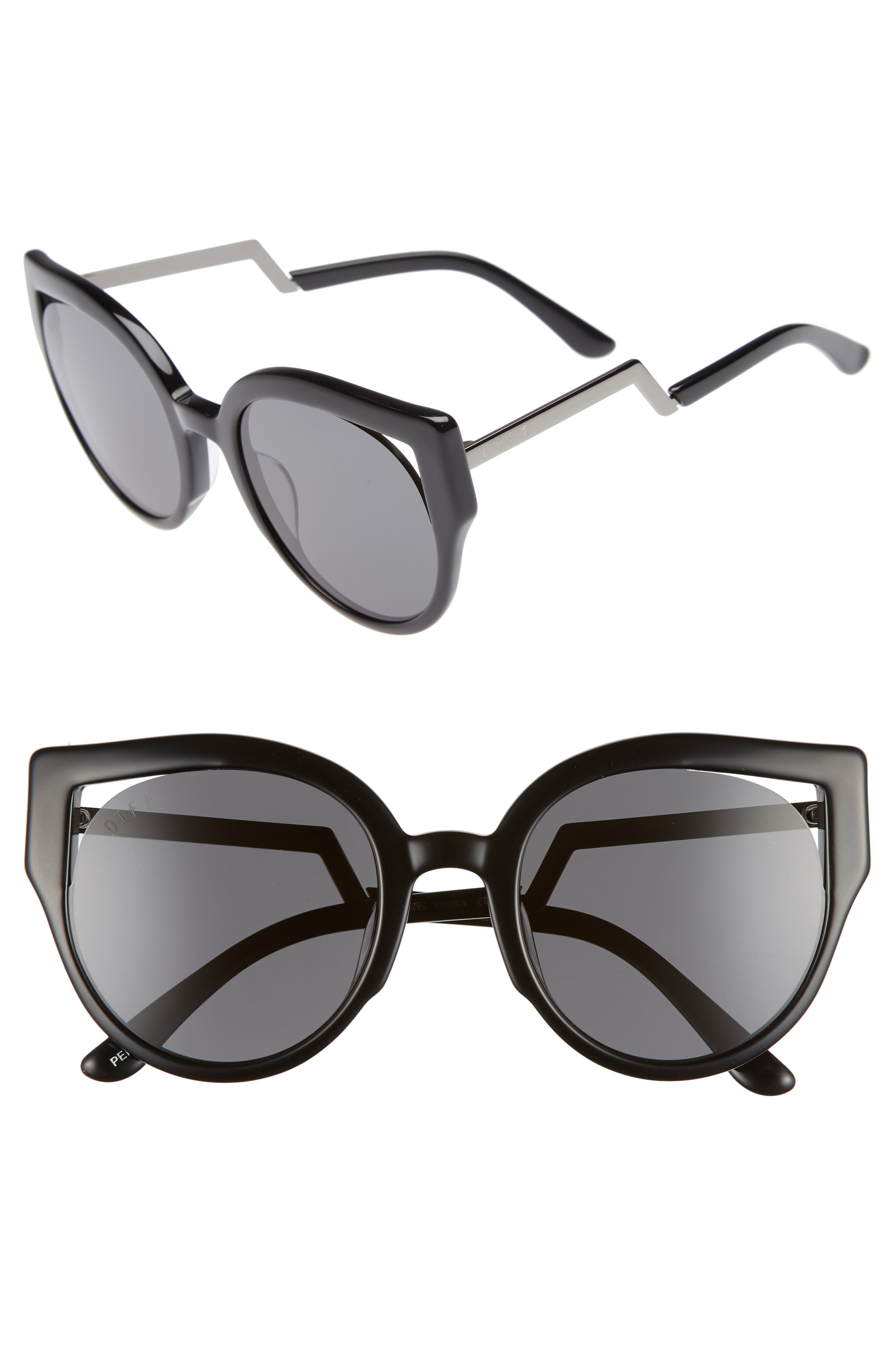 Penny 55mm Cat Eye Sunglasses,                         Main,                         color, 001
