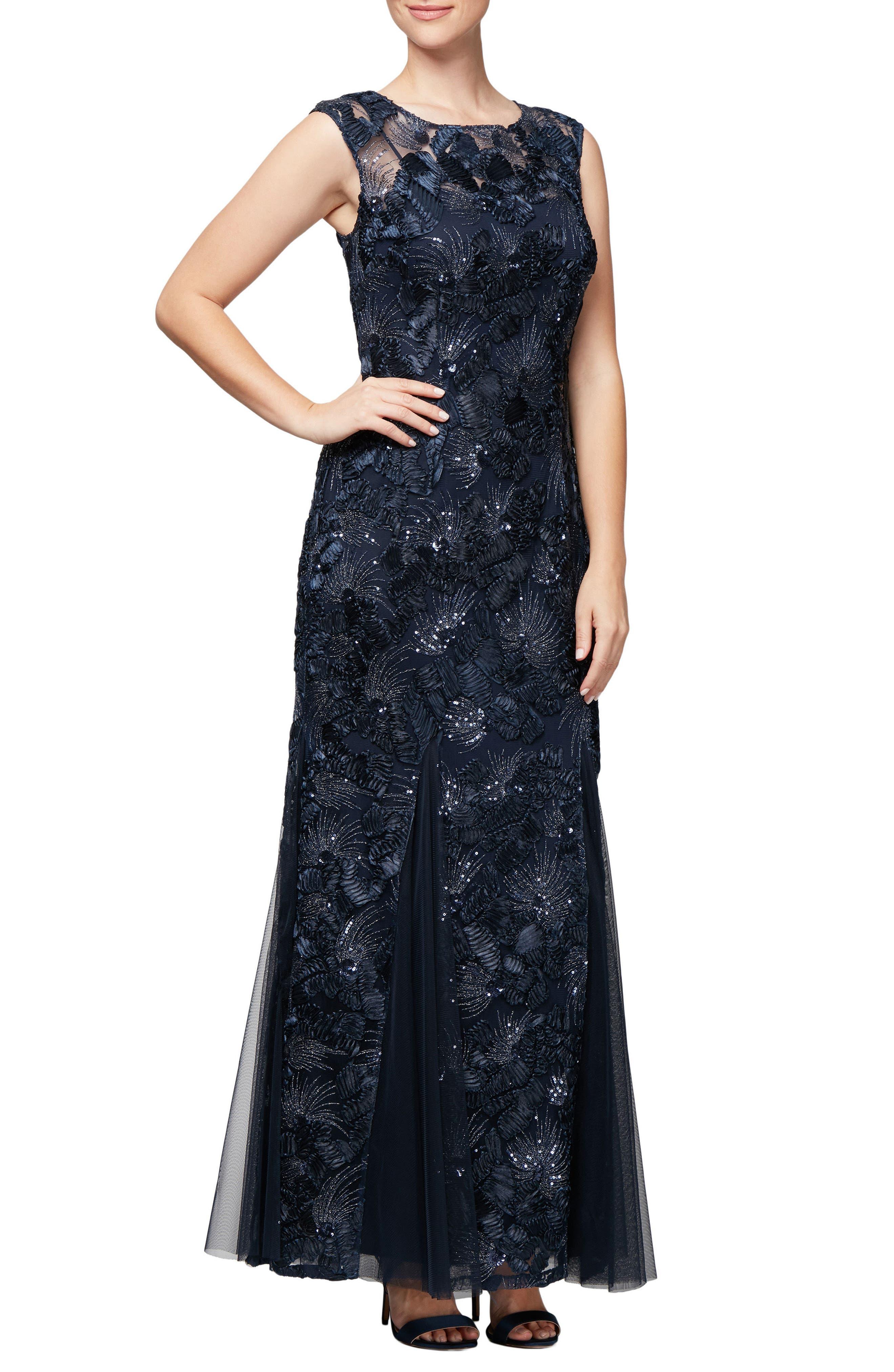 Soutache & Sequin Gown, Main, color, 410