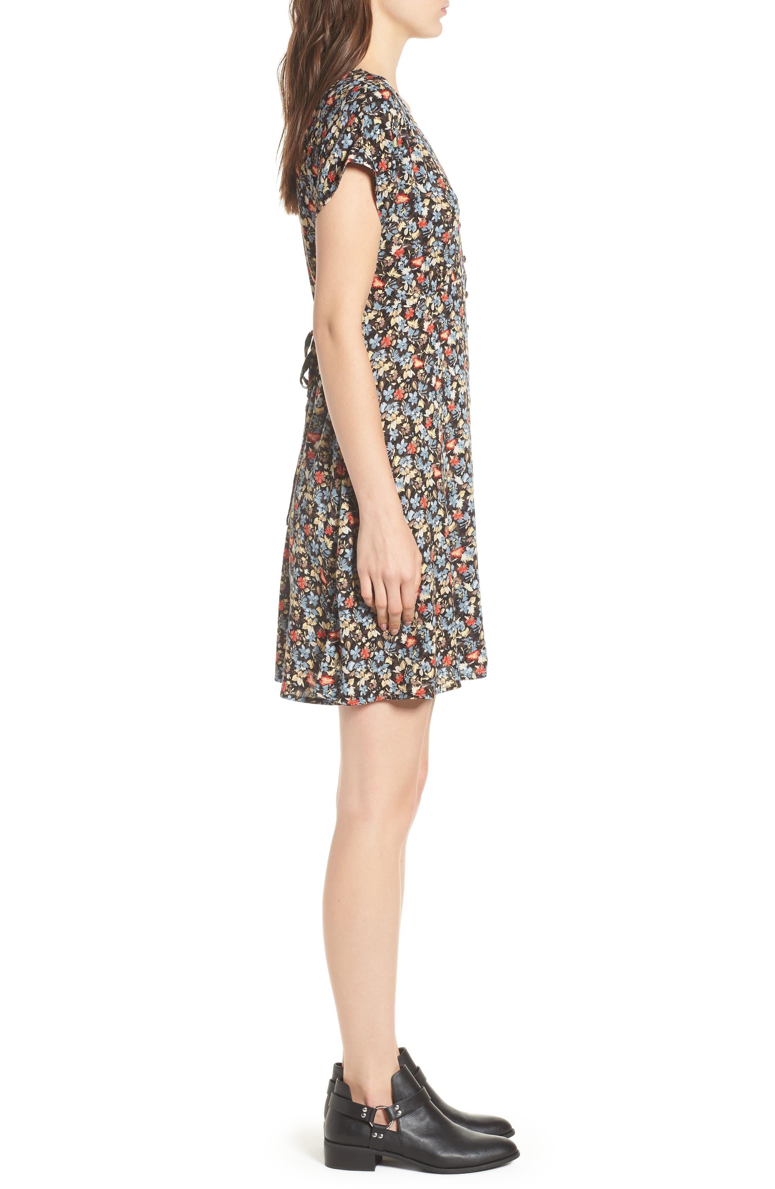 Floral Print Button Front Dress,                             Alternate thumbnail 3, color,                             BLACK GROUND FLORAL