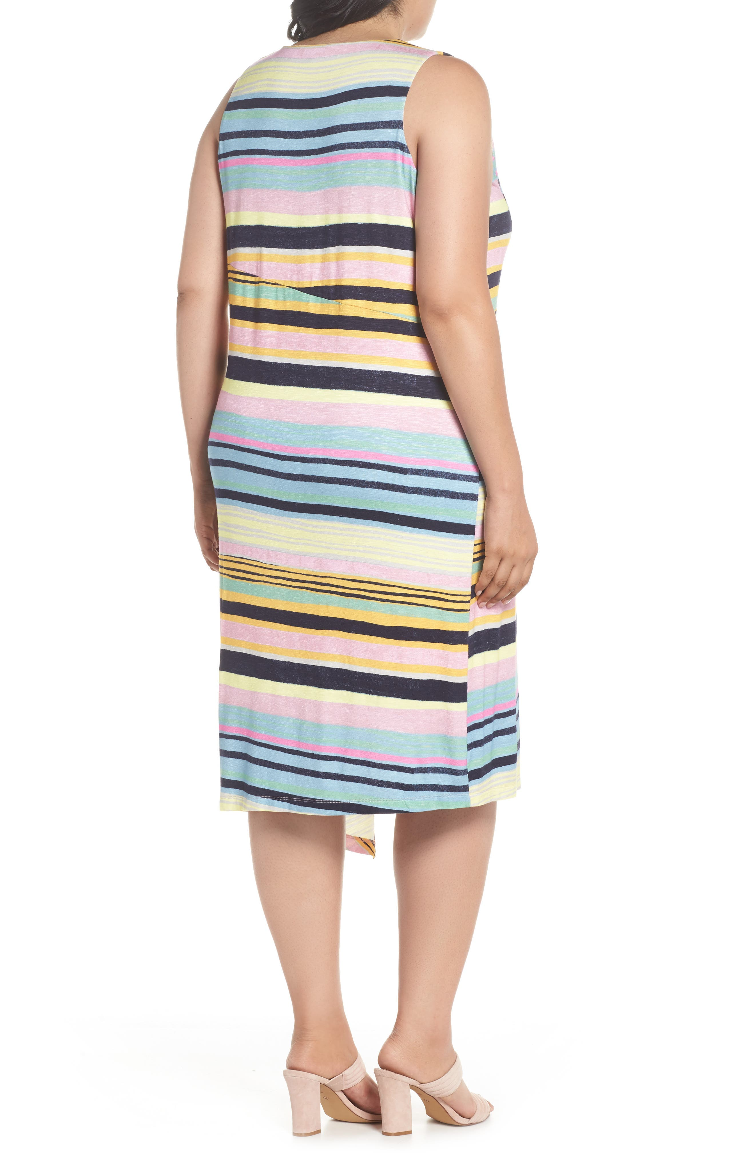 Asymmetrical Cinched Stripe Dress,                             Alternate thumbnail 2, color,                             NAVY COMBO