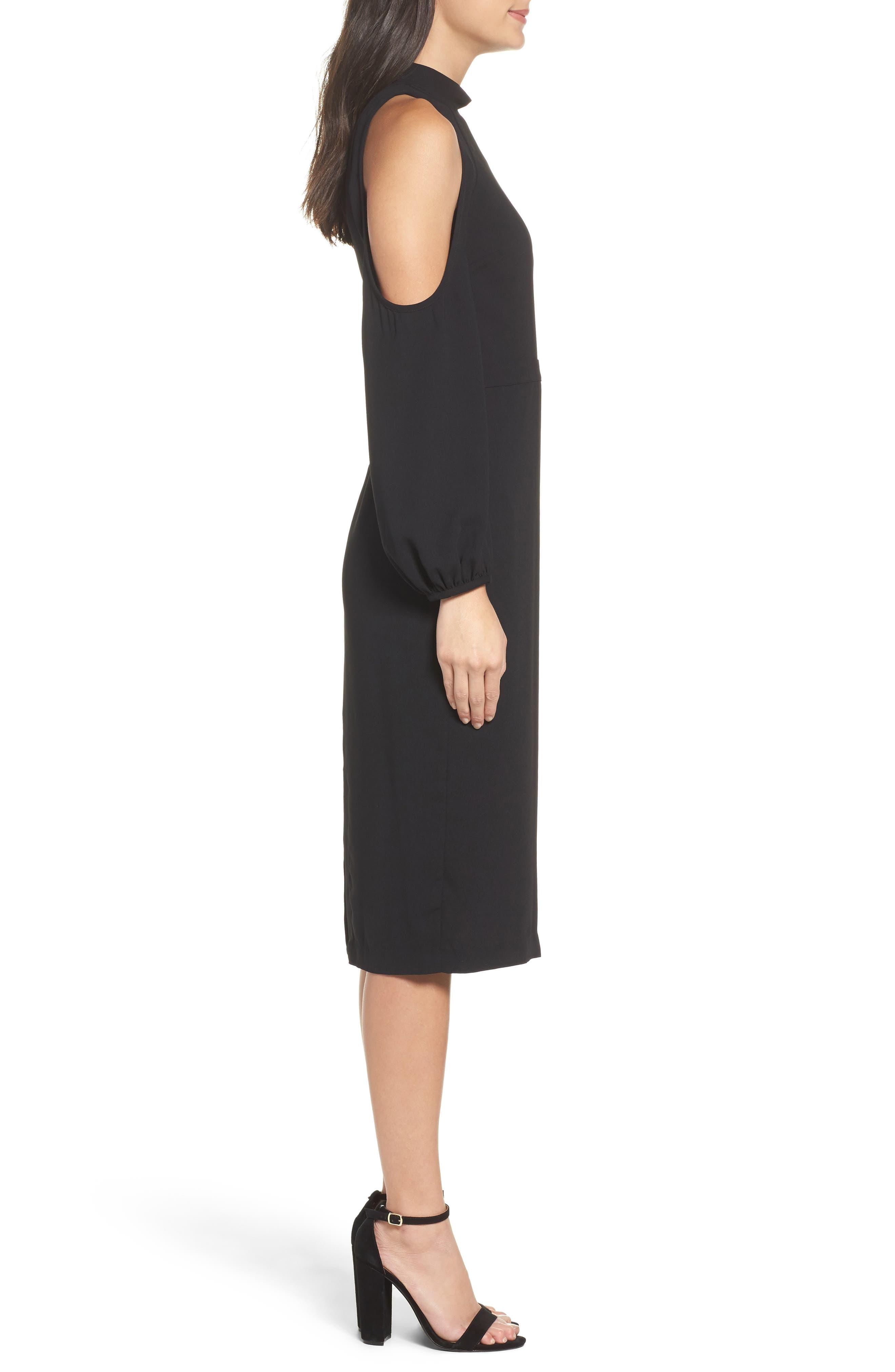 Power Shoulder Sheath Dress,                             Alternate thumbnail 3, color,                             001