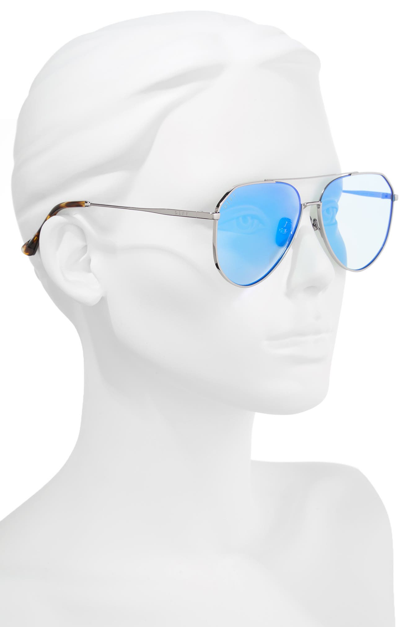 Dash 61mm Polarized Aviator Sunglasses,                             Alternate thumbnail 2, color,                             GUNMETAL/ ICE BLUE