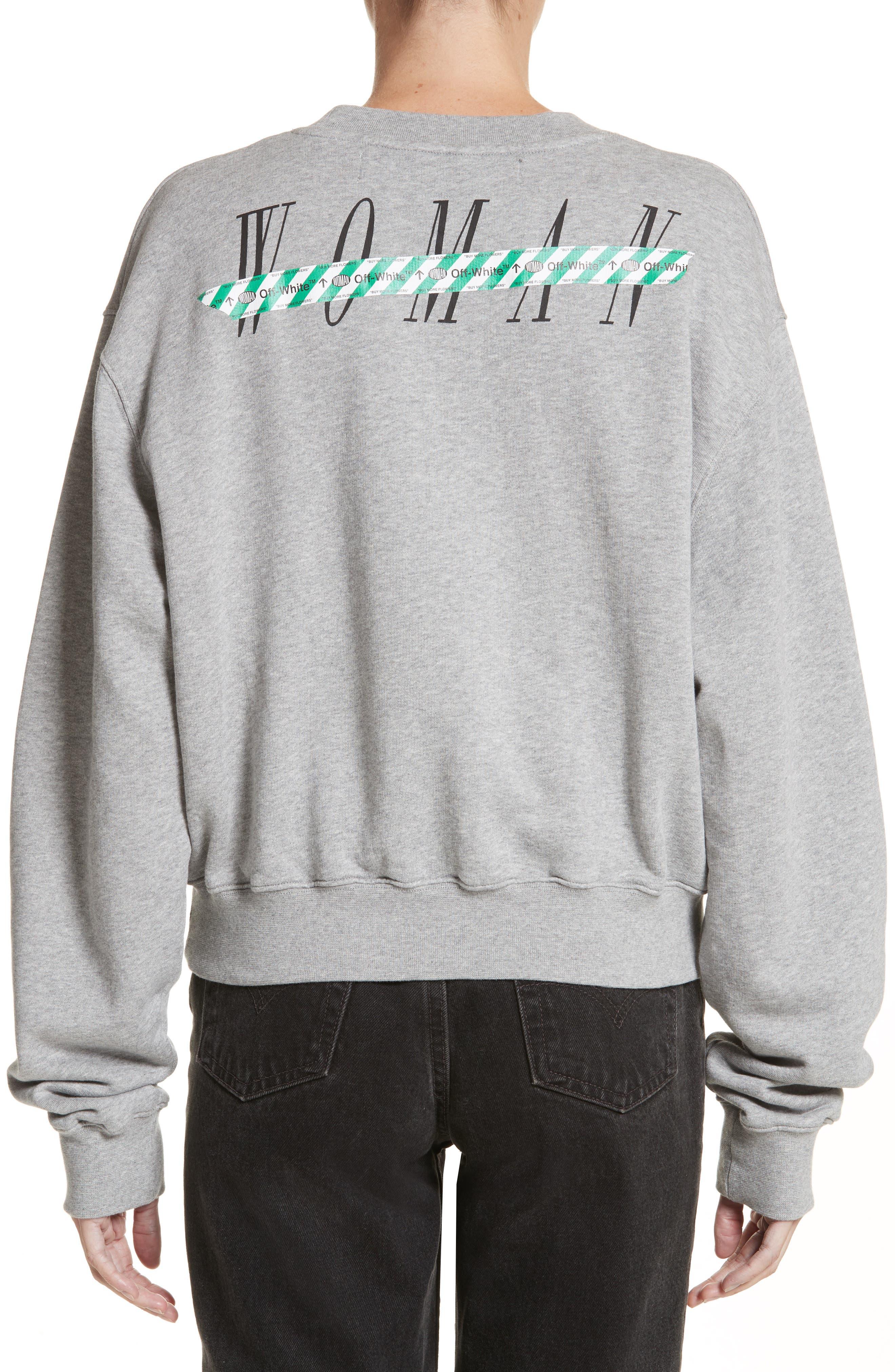 Woman Tape Crop Crewneck Sweater,                             Alternate thumbnail 2, color,                             020