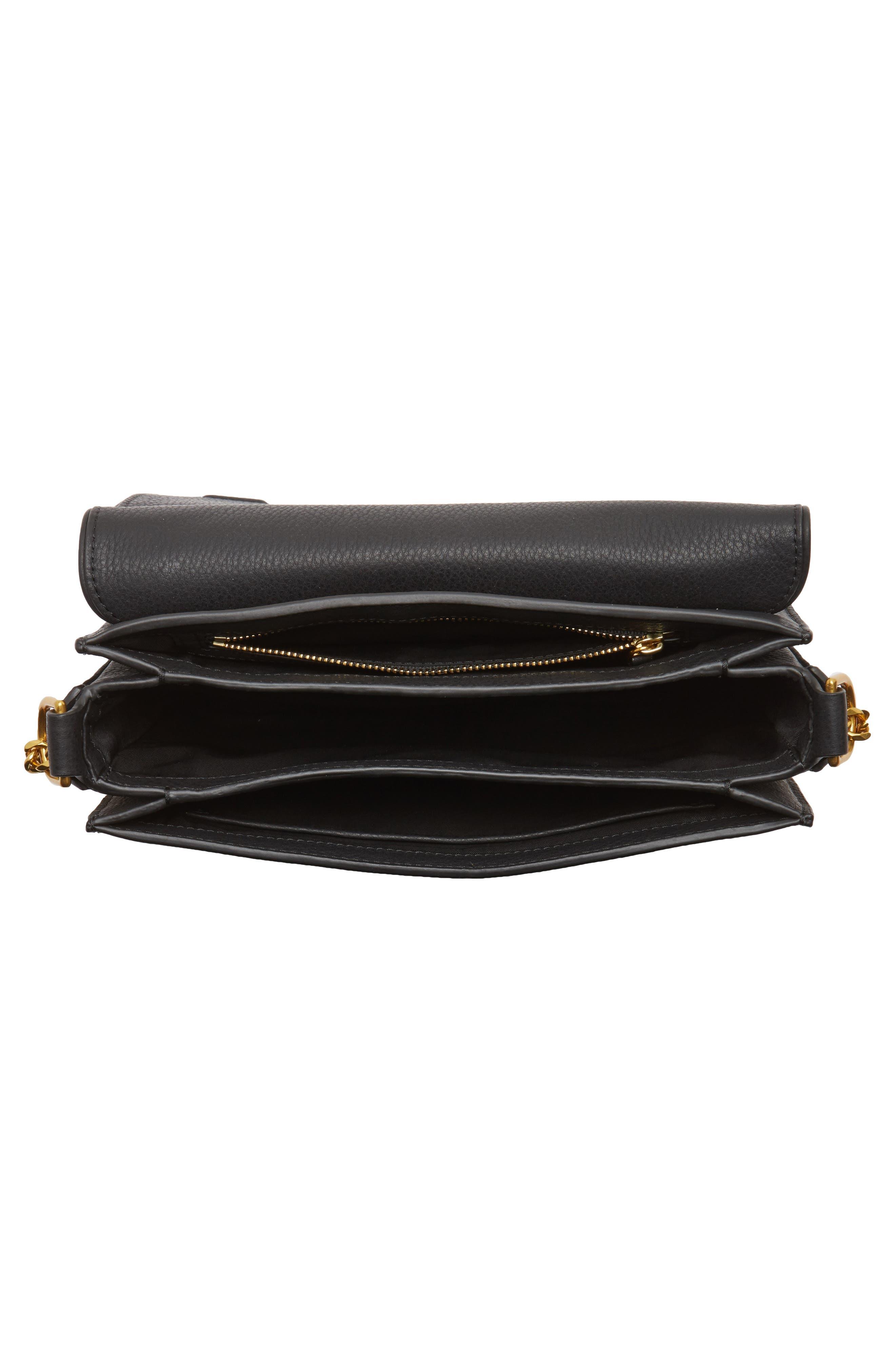 Chelsea Leather Shoulder Bag,                             Alternate thumbnail 4, color,                             001