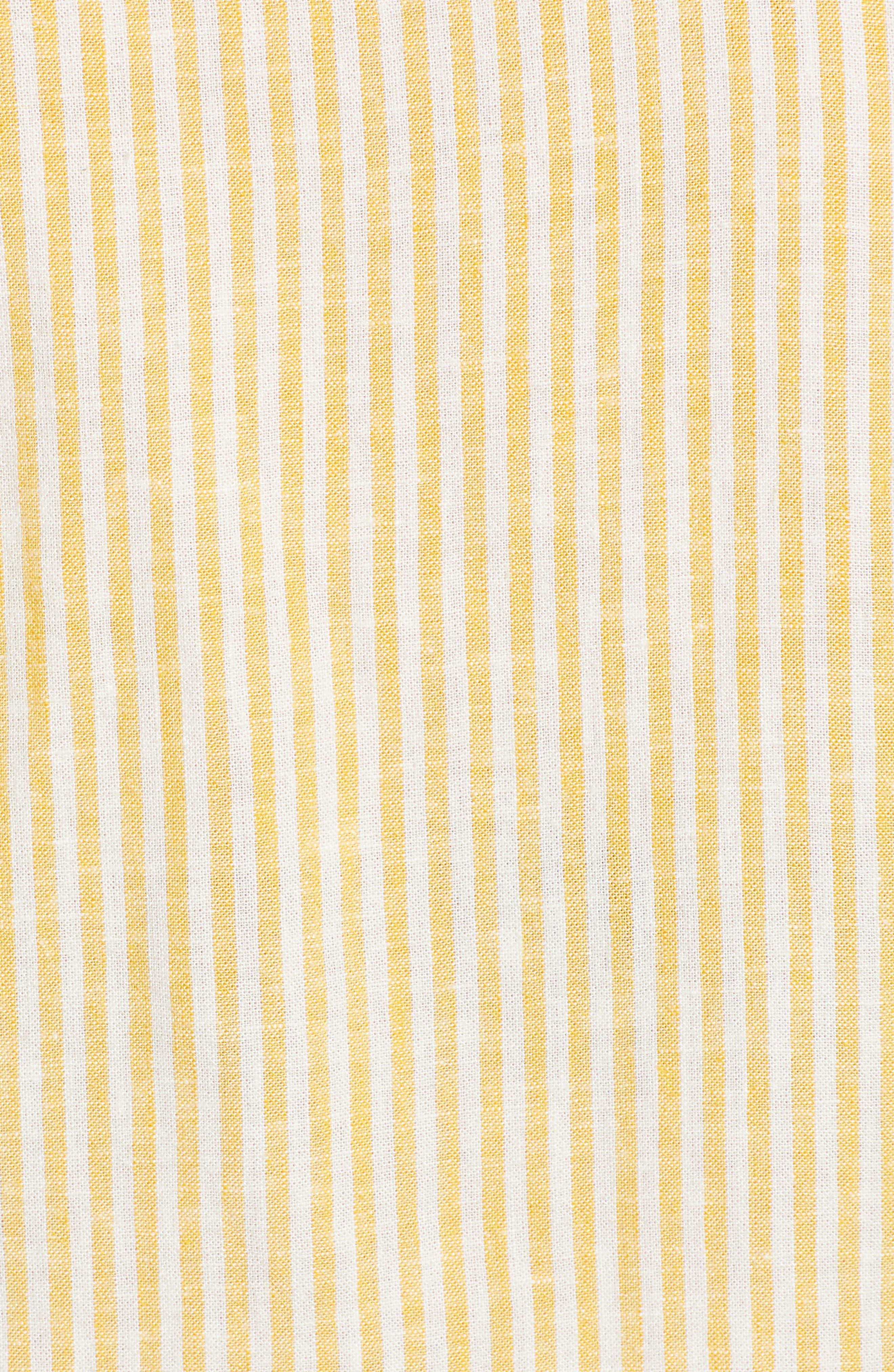 BP.,                             Button Front Linen Blend Top,                             Alternate thumbnail 6, color,                             YELLOW WHIP MARA STRIPE