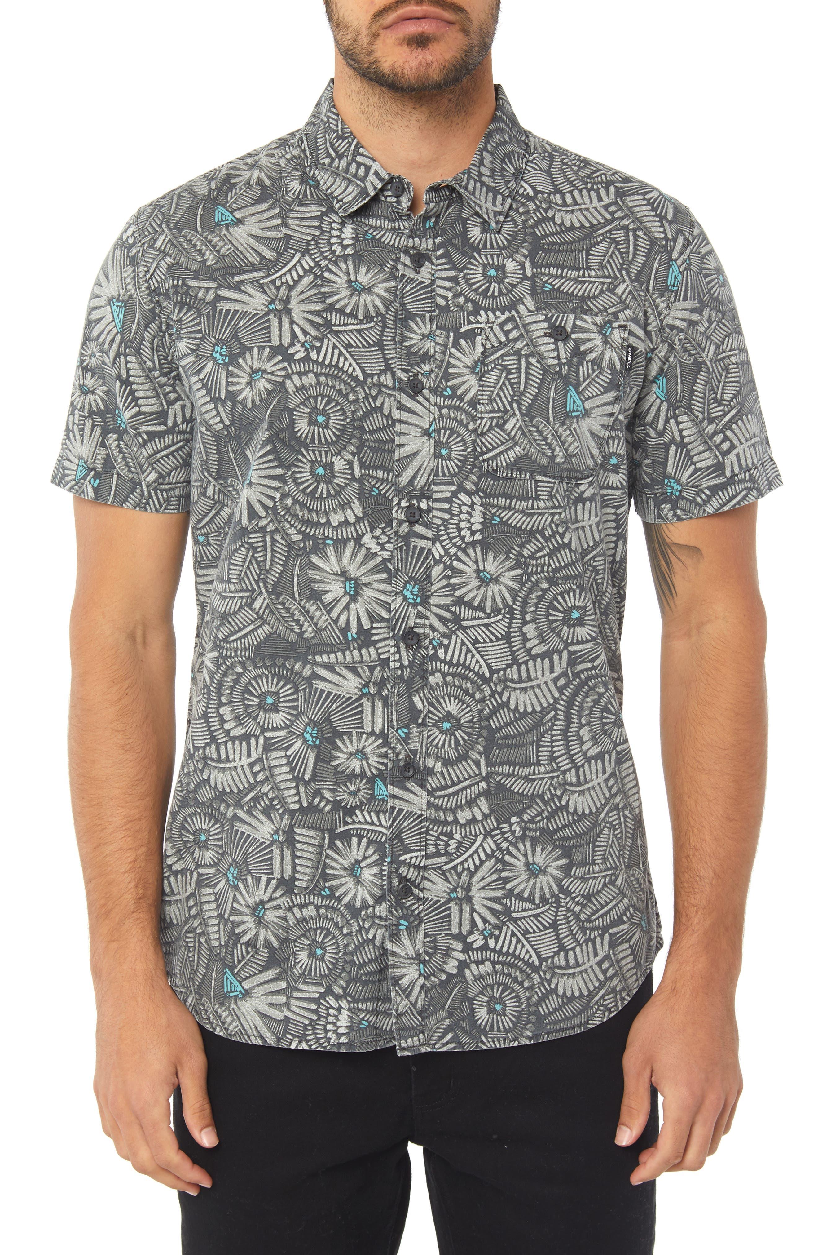 Short Sleeve Print Camp Shirt,                             Main thumbnail 1, color,                             BLACK