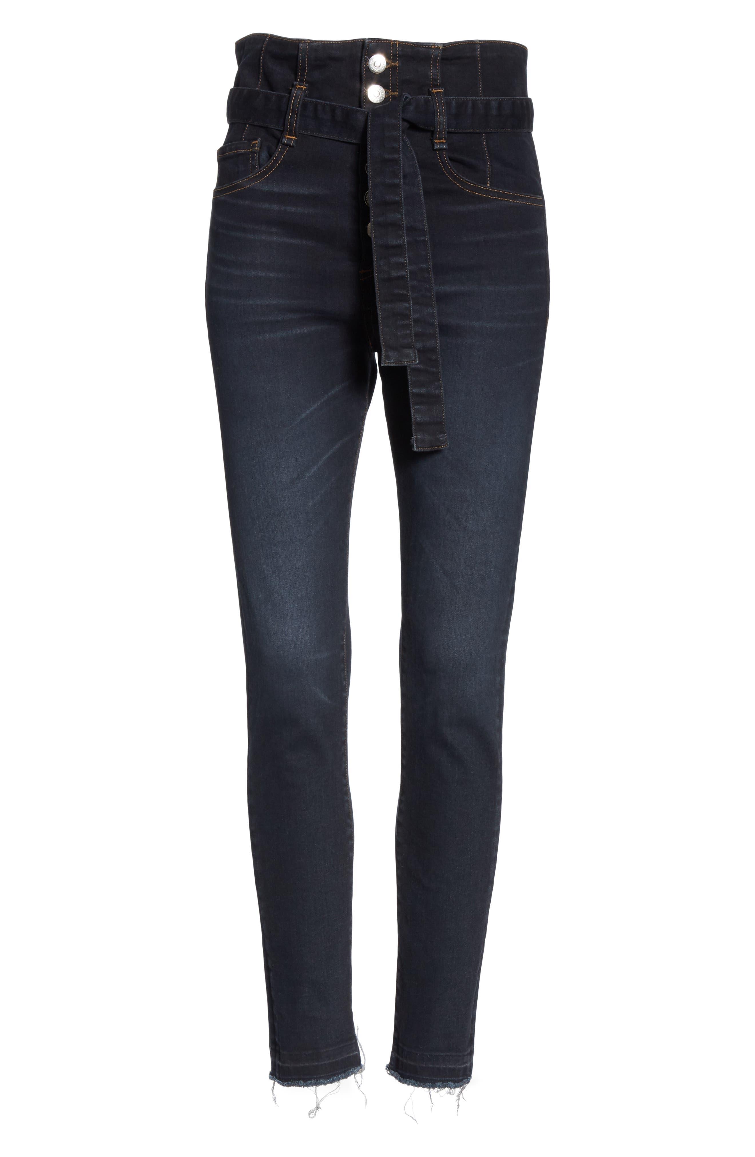 Keith Corset Waist Skinny Jeans,                             Alternate thumbnail 6, color,                             DARK SLATE