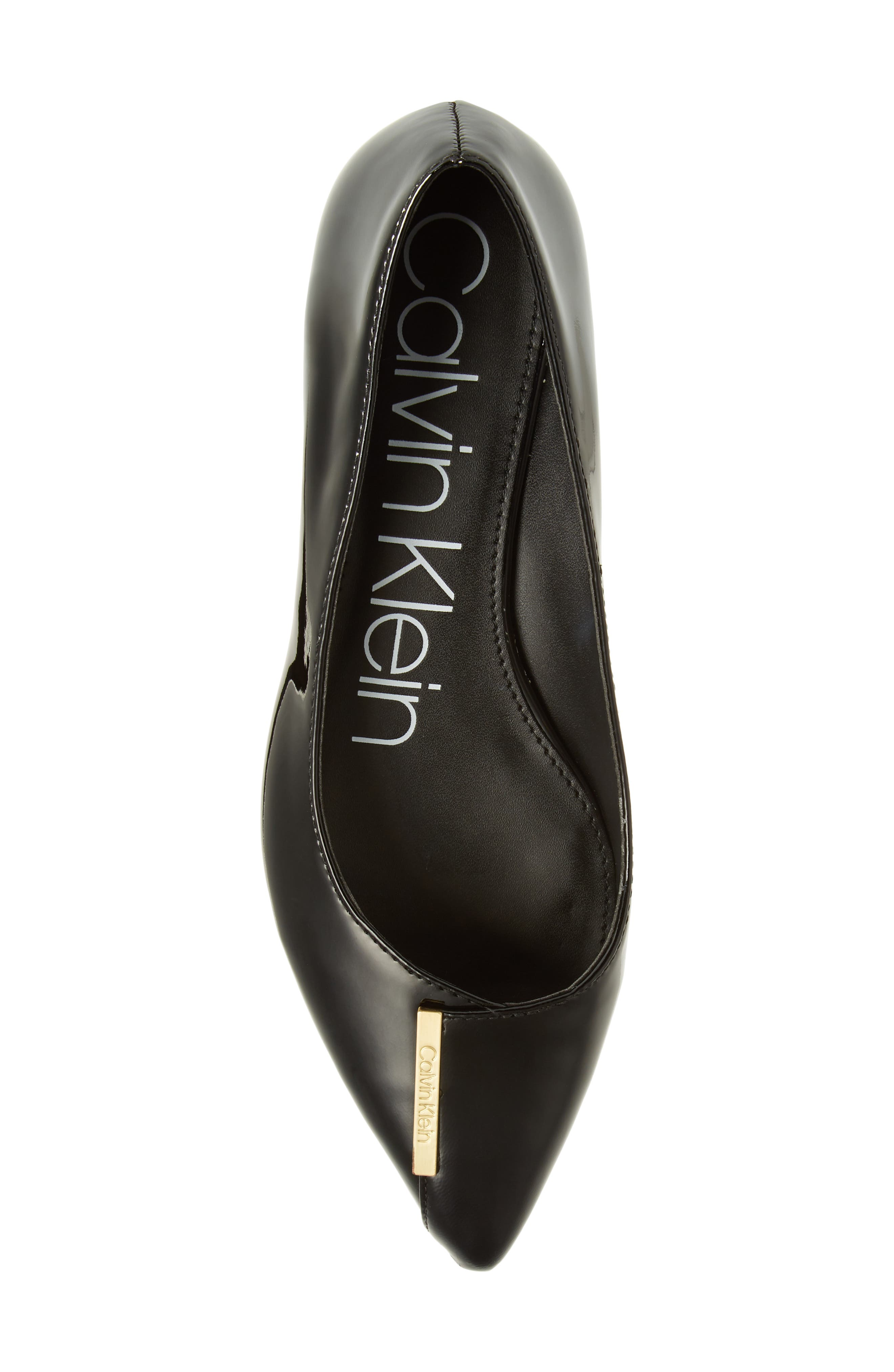 Arline Pointy Toe Flat,                             Alternate thumbnail 5, color,                             BLACK PATENT LEATHER