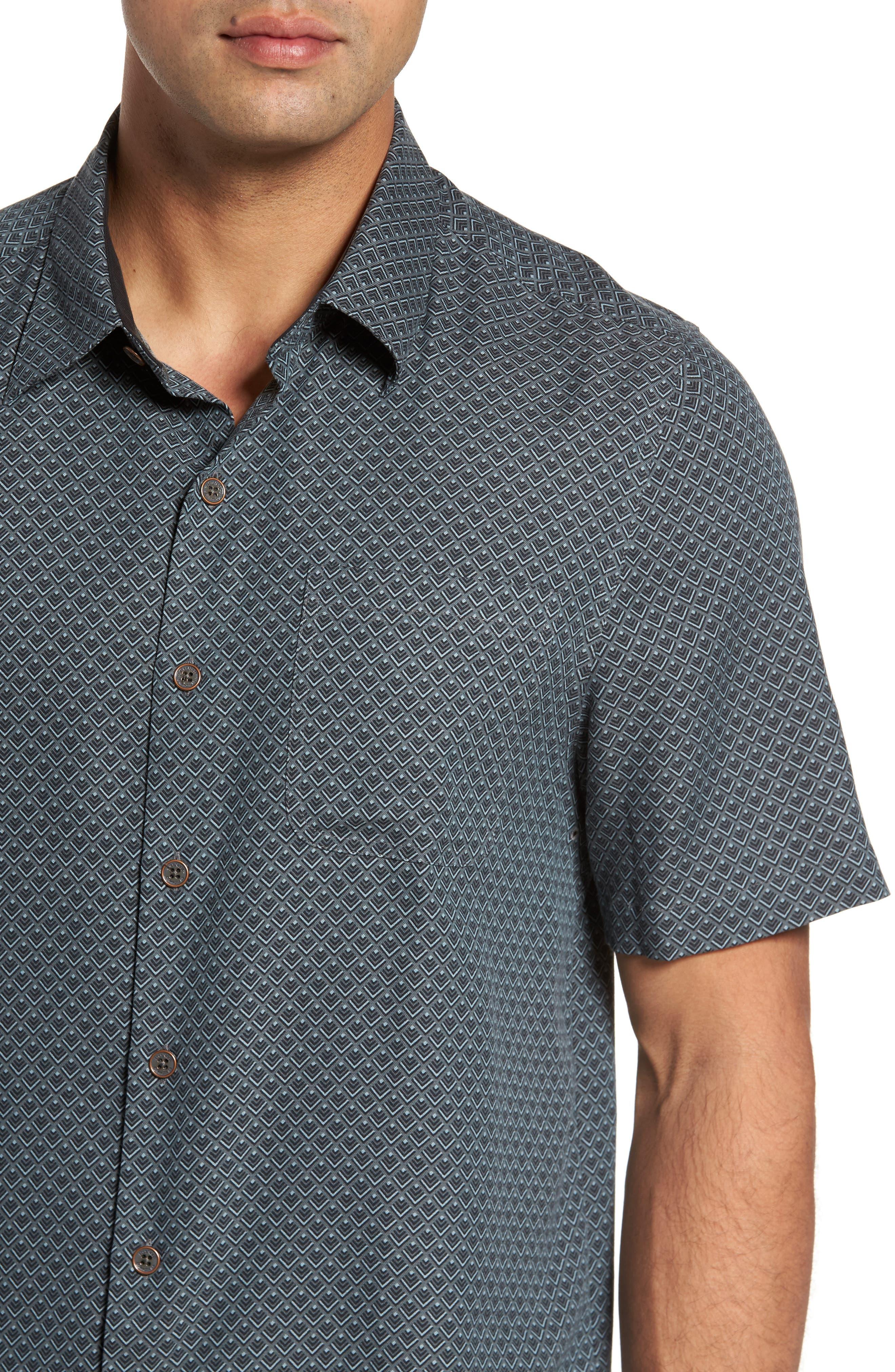 Ajax Classic Fit Silk Blend Camp Shirt,                             Alternate thumbnail 4, color,                             001