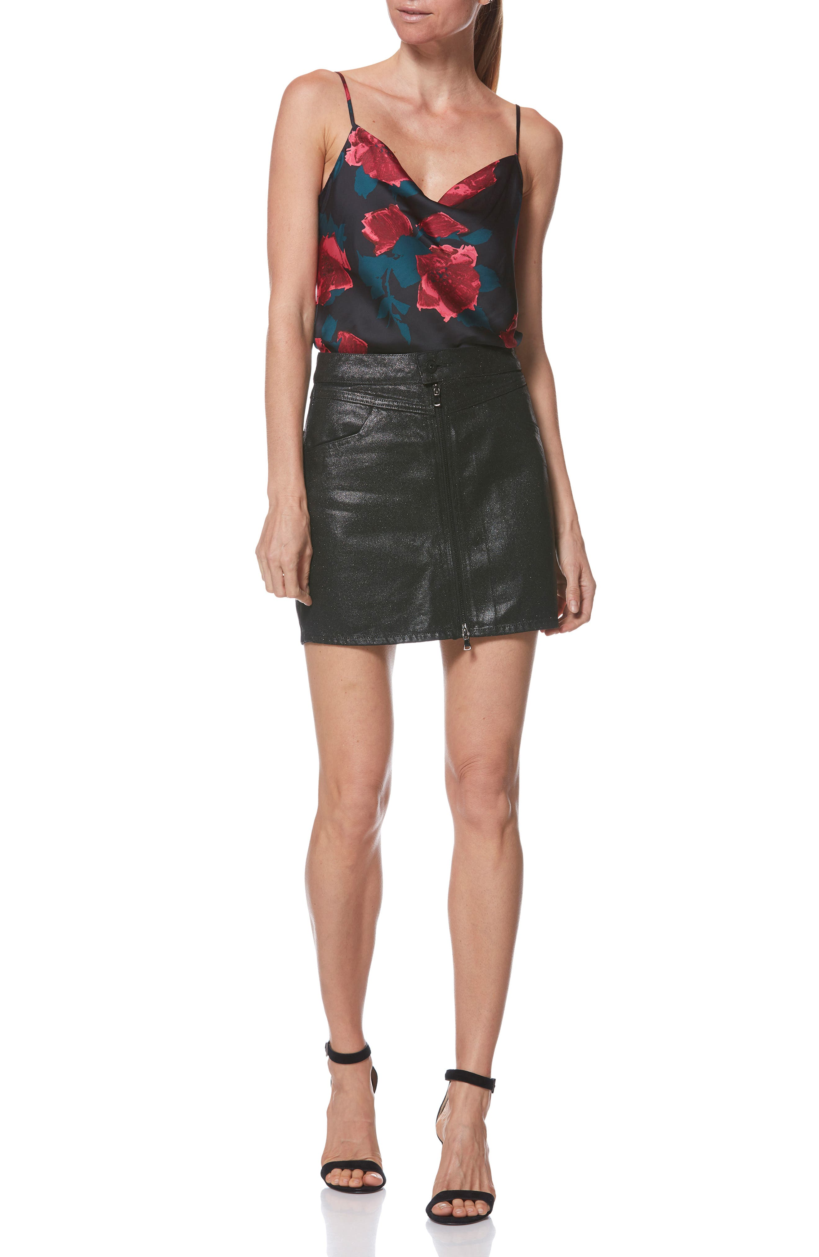 Jamine Zip Front Skirt,                             Alternate thumbnail 5, color,                             SPARKLE COATING