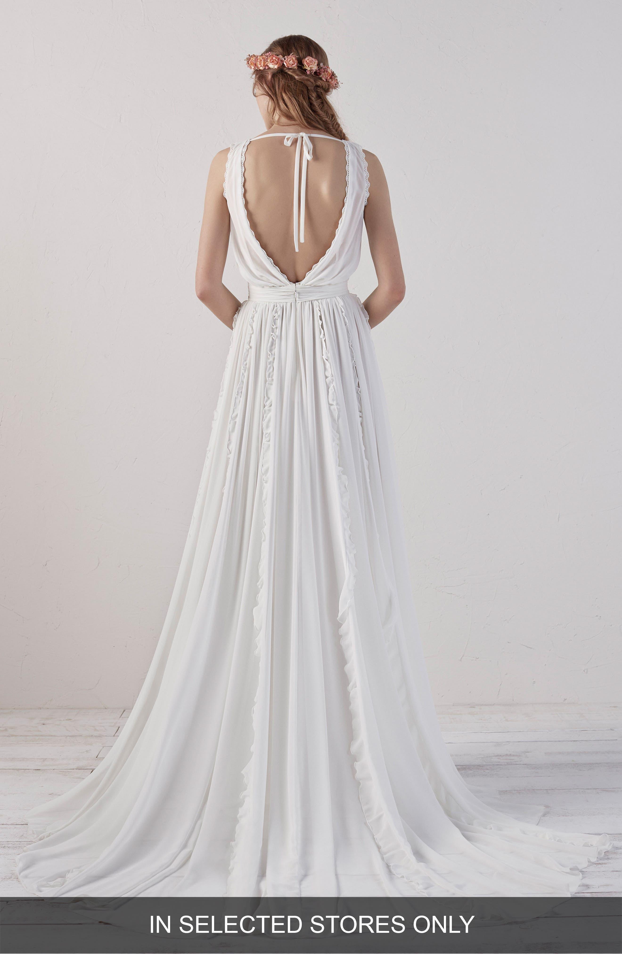Elbet Boho V-Neck Lace & Chiffon Gown,                             Alternate thumbnail 2, color,                             OFF WHITE