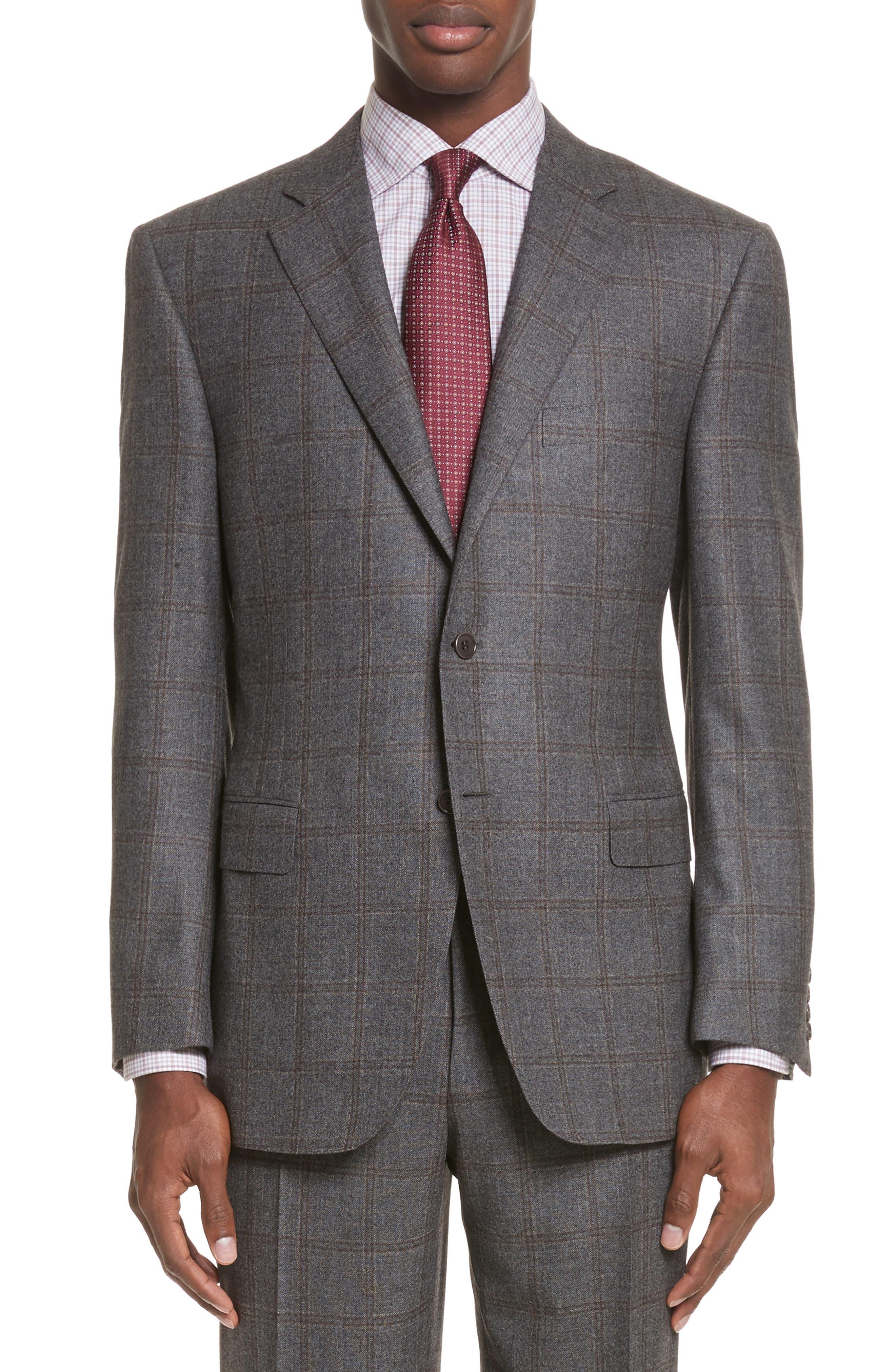 Classic Fit Plaid Wool Suit,                             Alternate thumbnail 5, color,                             030