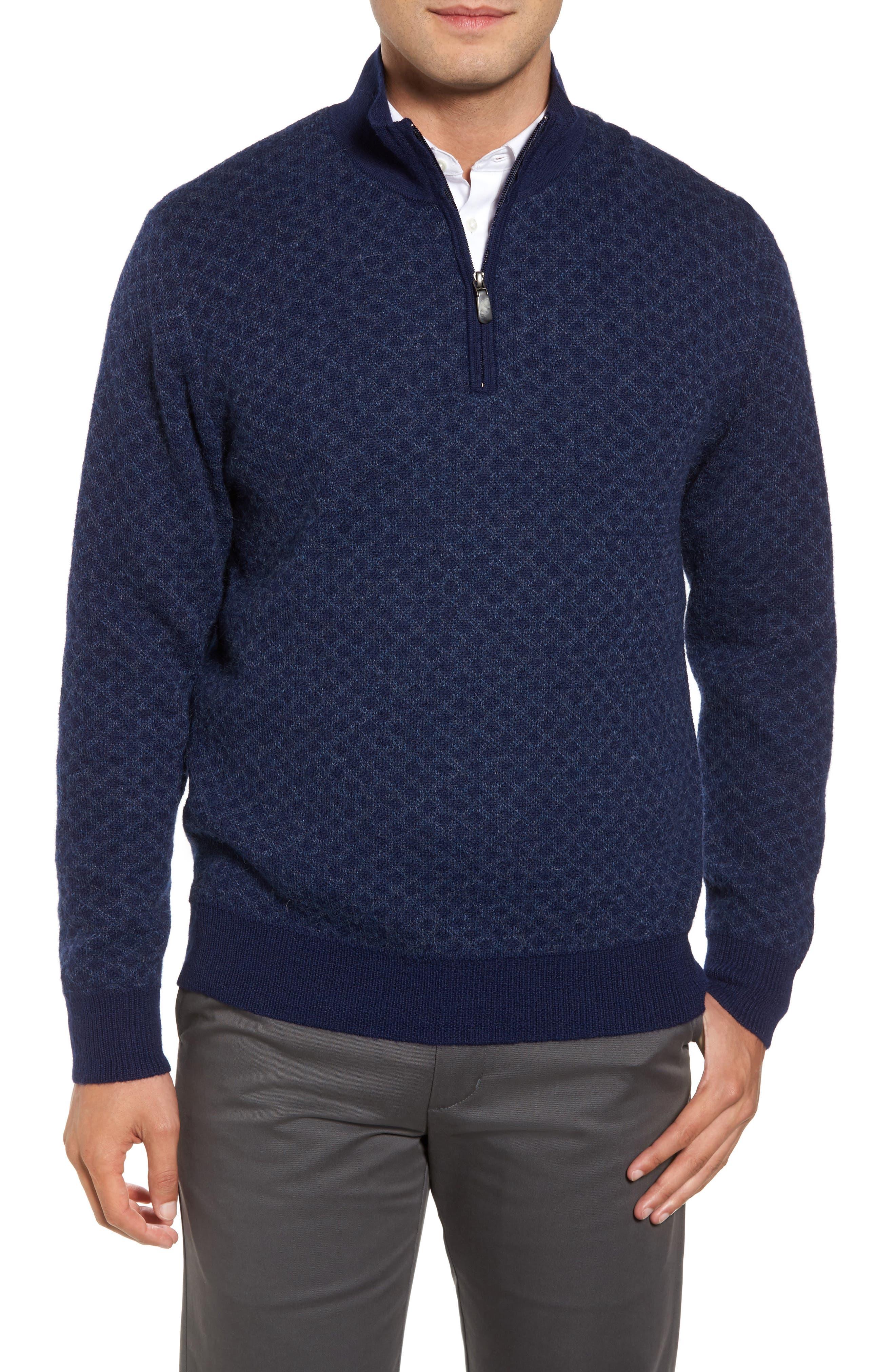 Diamond Quarter Zip Alpaca Sweater,                             Main thumbnail 2, color,