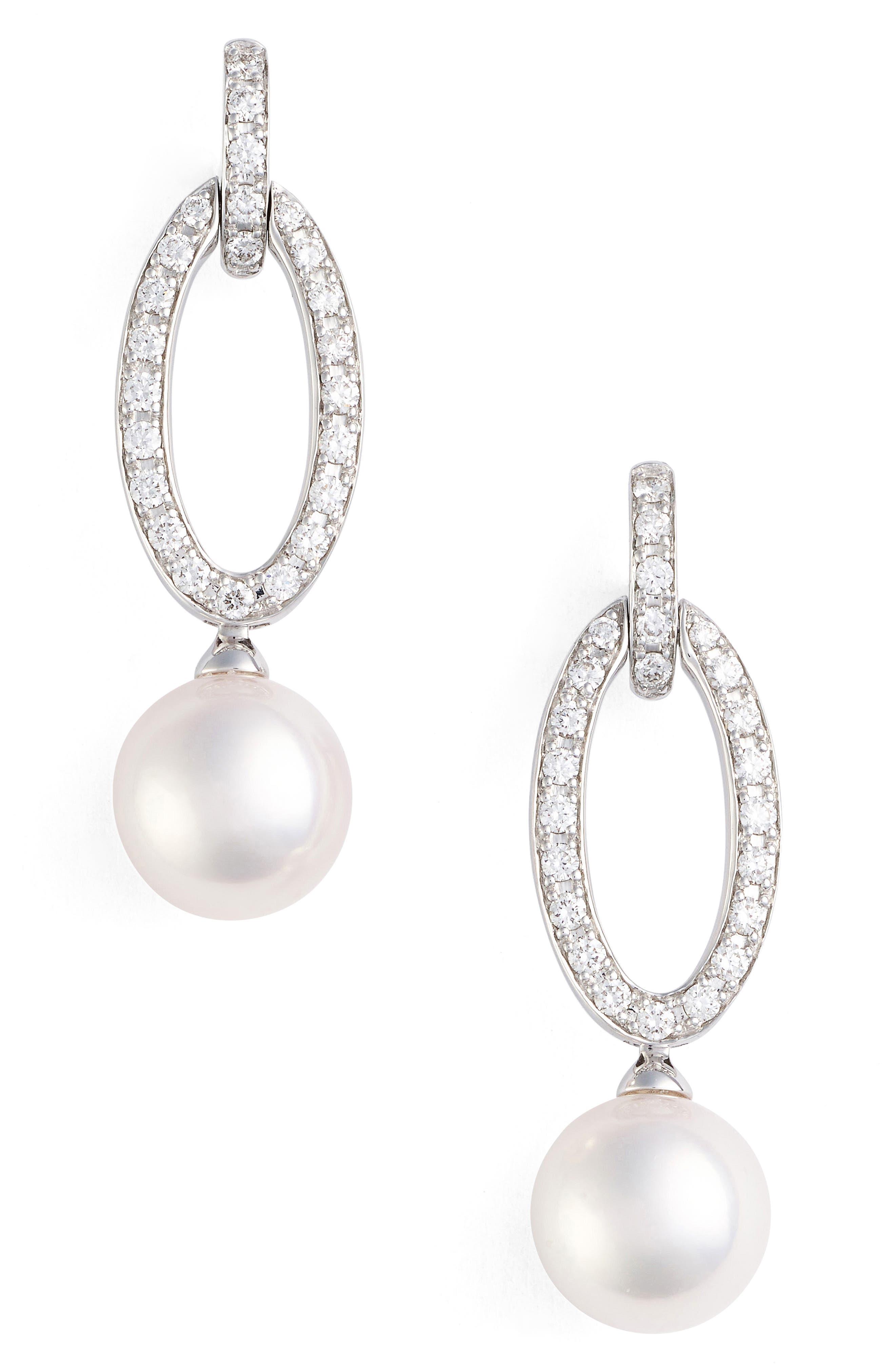 Diamond & Pearl Drop Earrings,                             Main thumbnail 1, color,                             WHITE GOLD